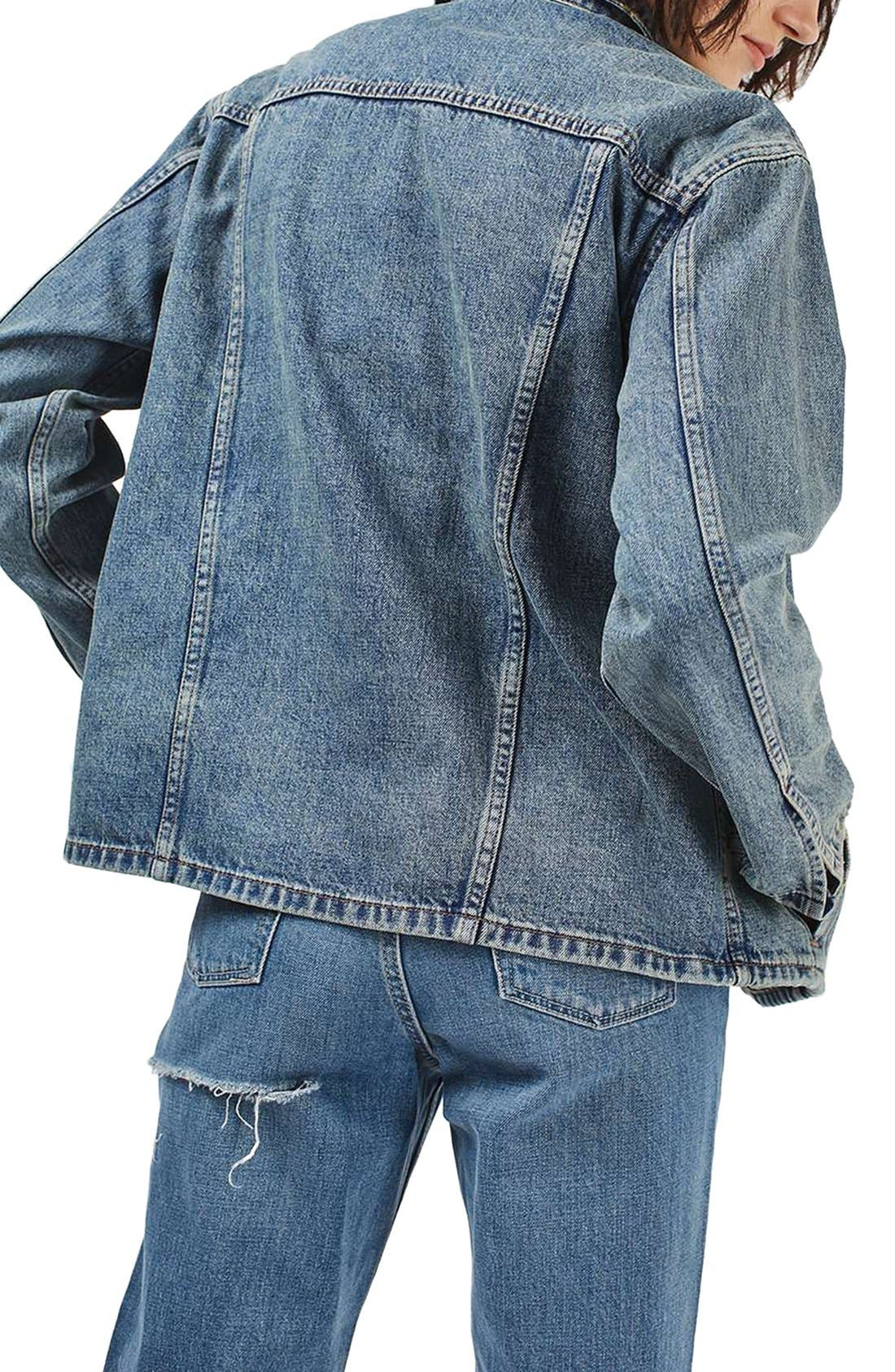 Alternate Image 3  - Topshop Moto Dirty Lilac Oversized Denim Jacket