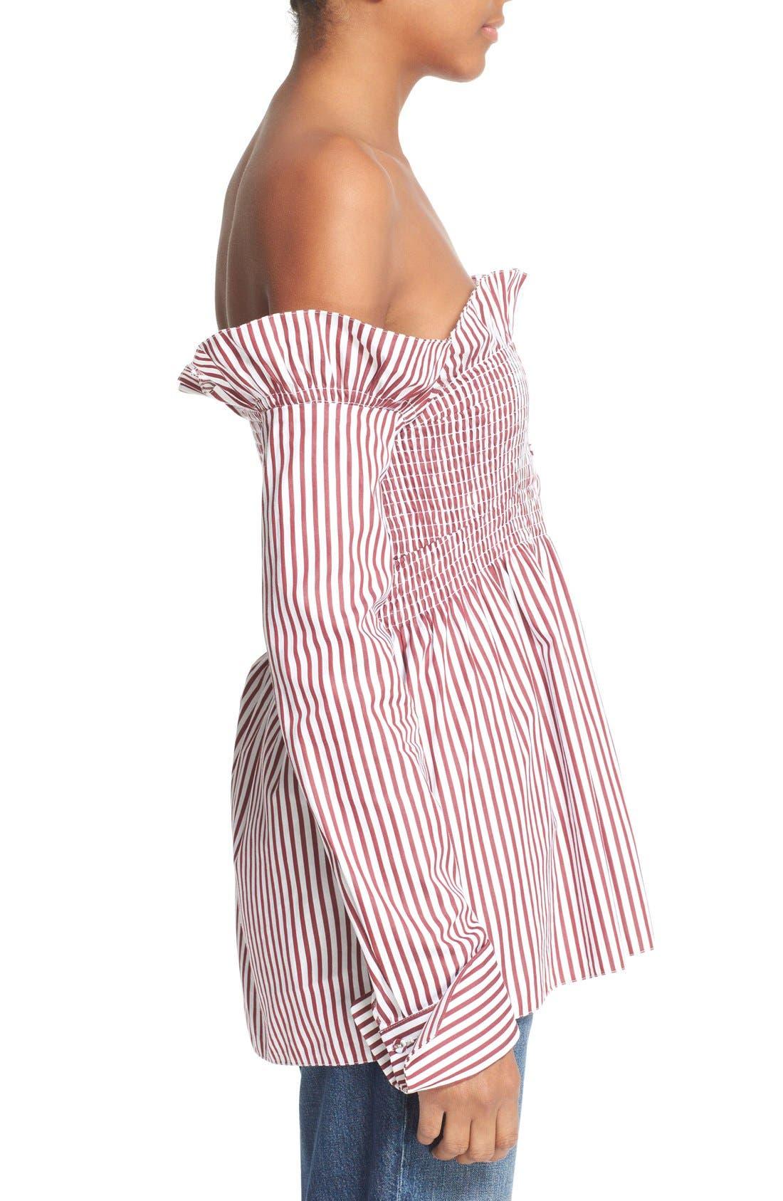 Alternate Image 5  - Victoria, Victoria Beckham Off the Shoulder Smocked Shirt