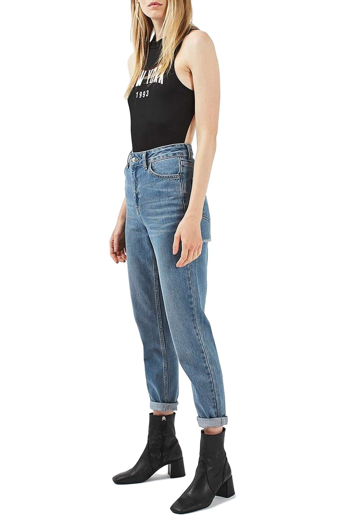 Alternate Image 2  - Topshop New York Cutout Bodysuit