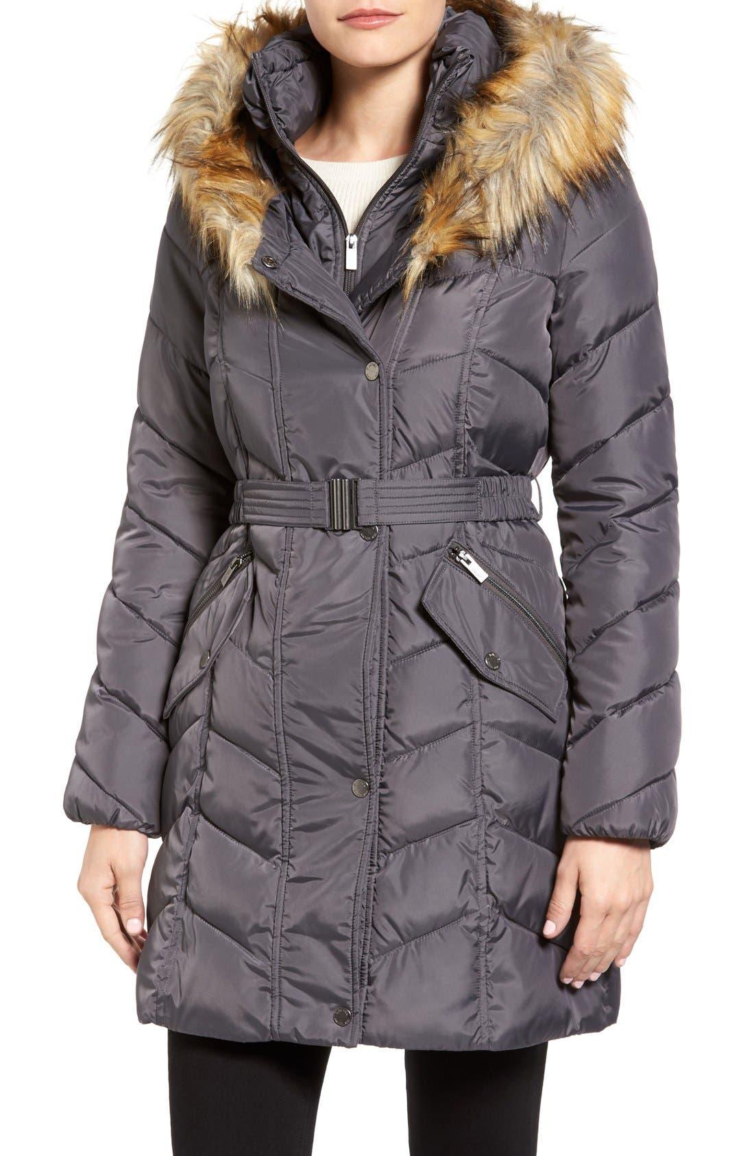 Main Image - Rachel Roy Faux Fur Trim Quilted Coat with Bib