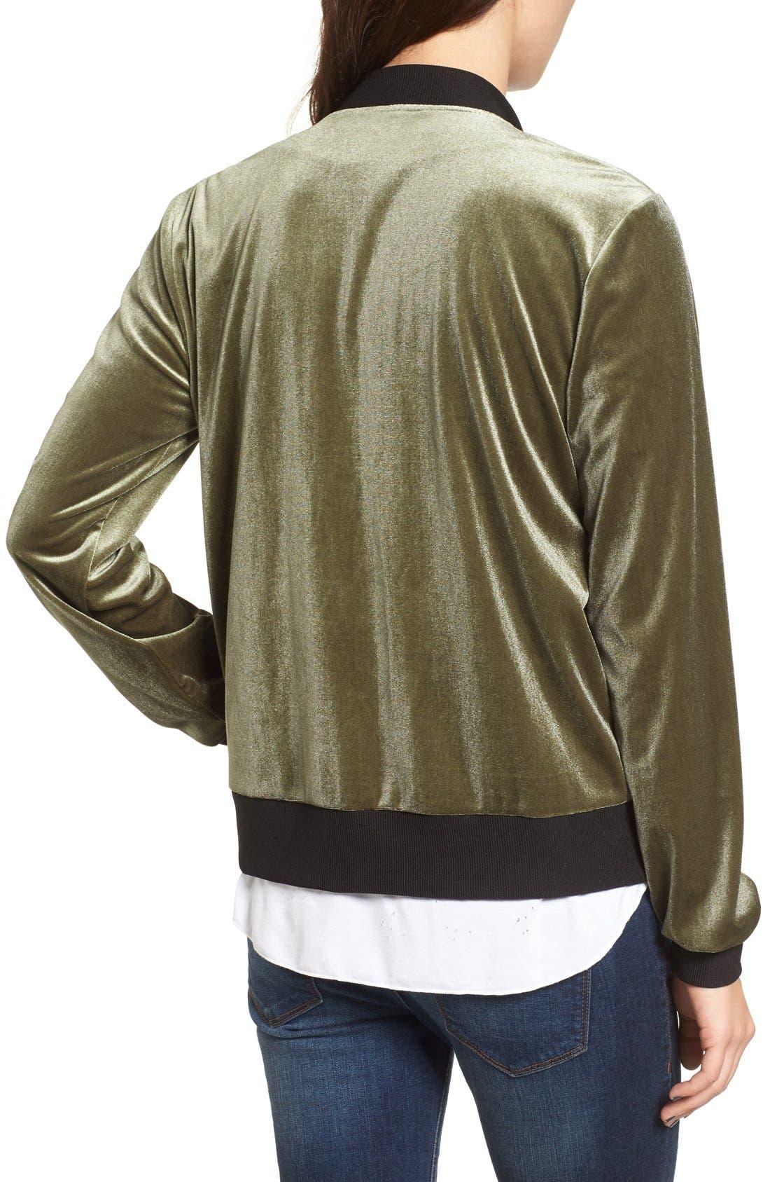 Alternate Image 3  - Socialite Velvet Bomber Jacket