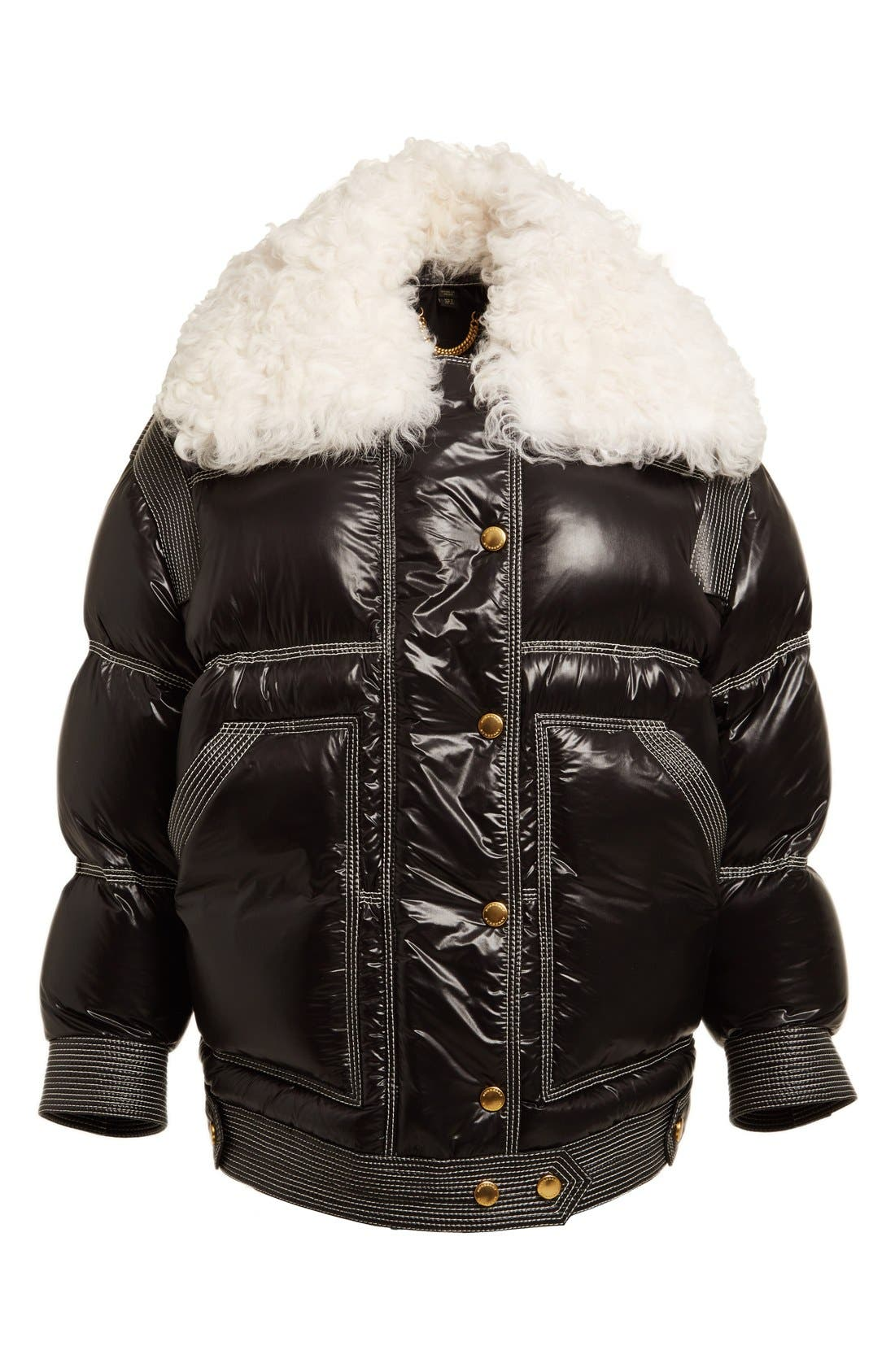 Alternate Image 5  - Burberry Puffer Coat with Removable Genuine Shearling Collar