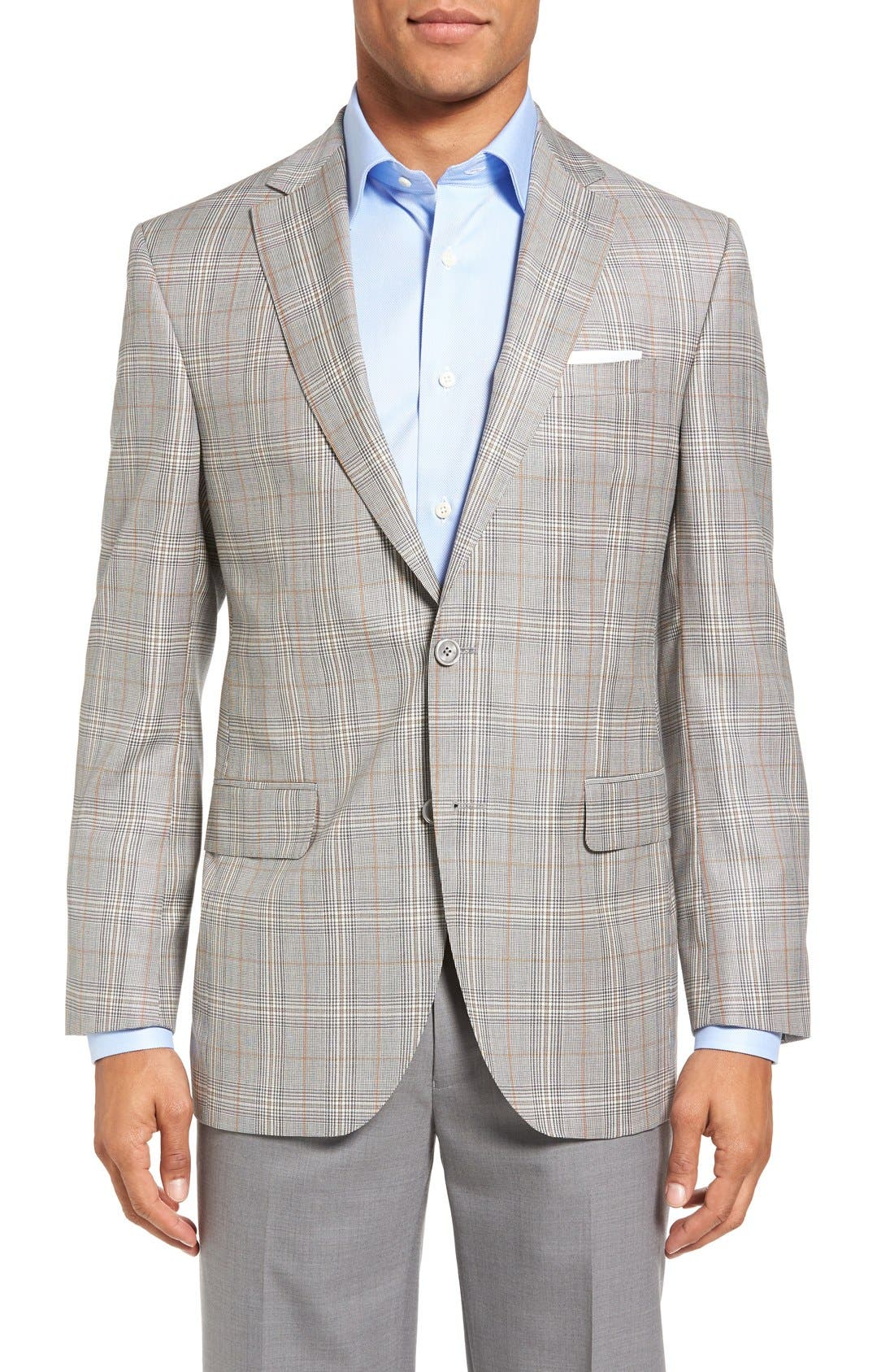 DAVID DONAHUE Connor Classic Fit Plaid Wool Sport