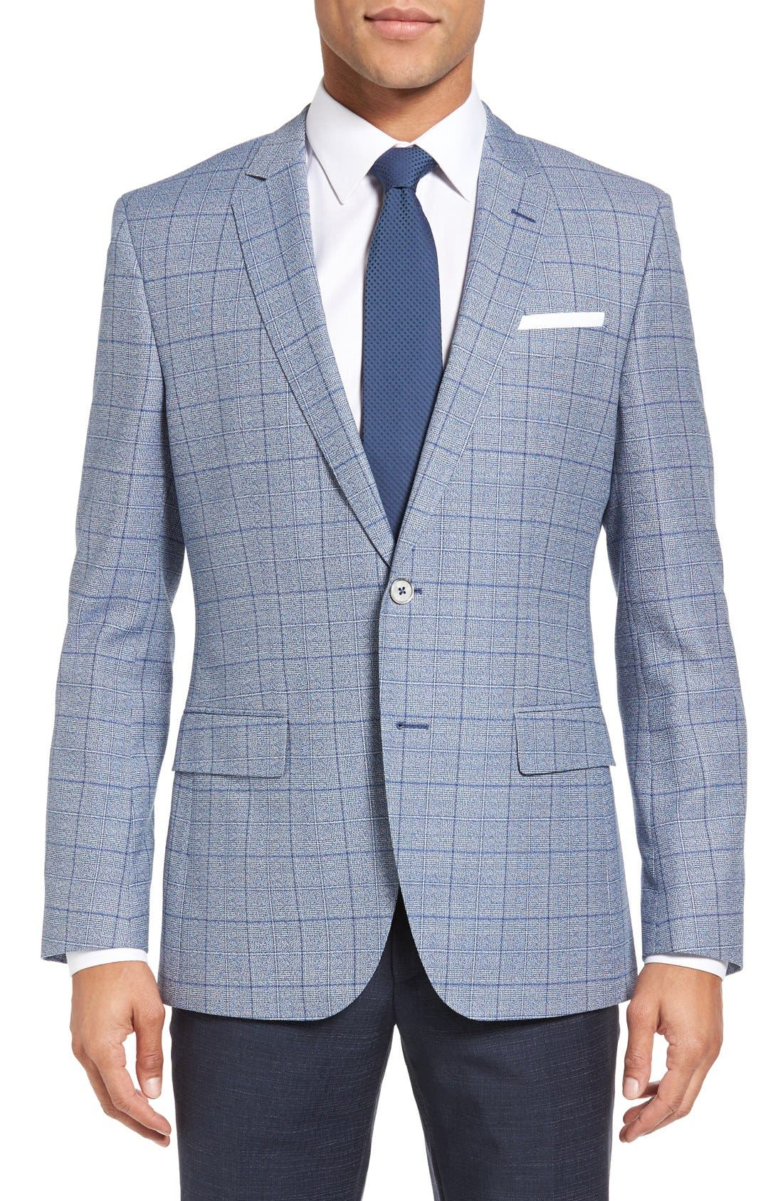 BOSS Hutsons Trim Fit Plaid Wool & Cotton