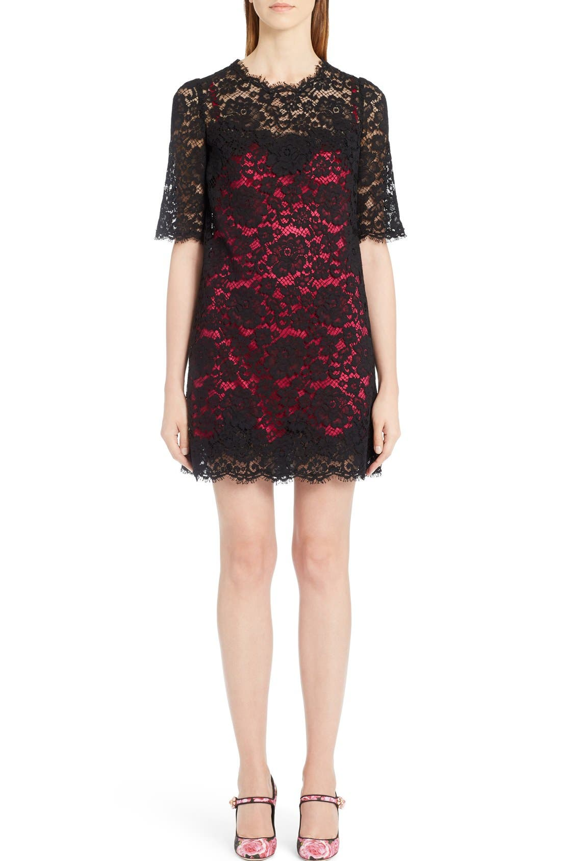 DOLCE&GABBANA Lace Dress with Pink Lining