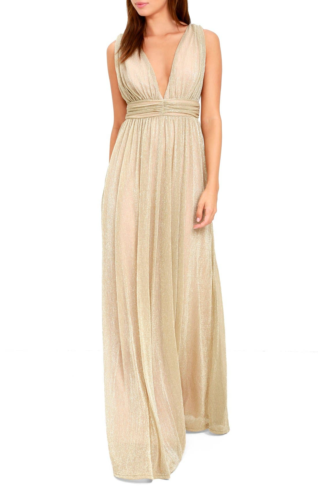Lulus Plunging Neck Metallic Gown