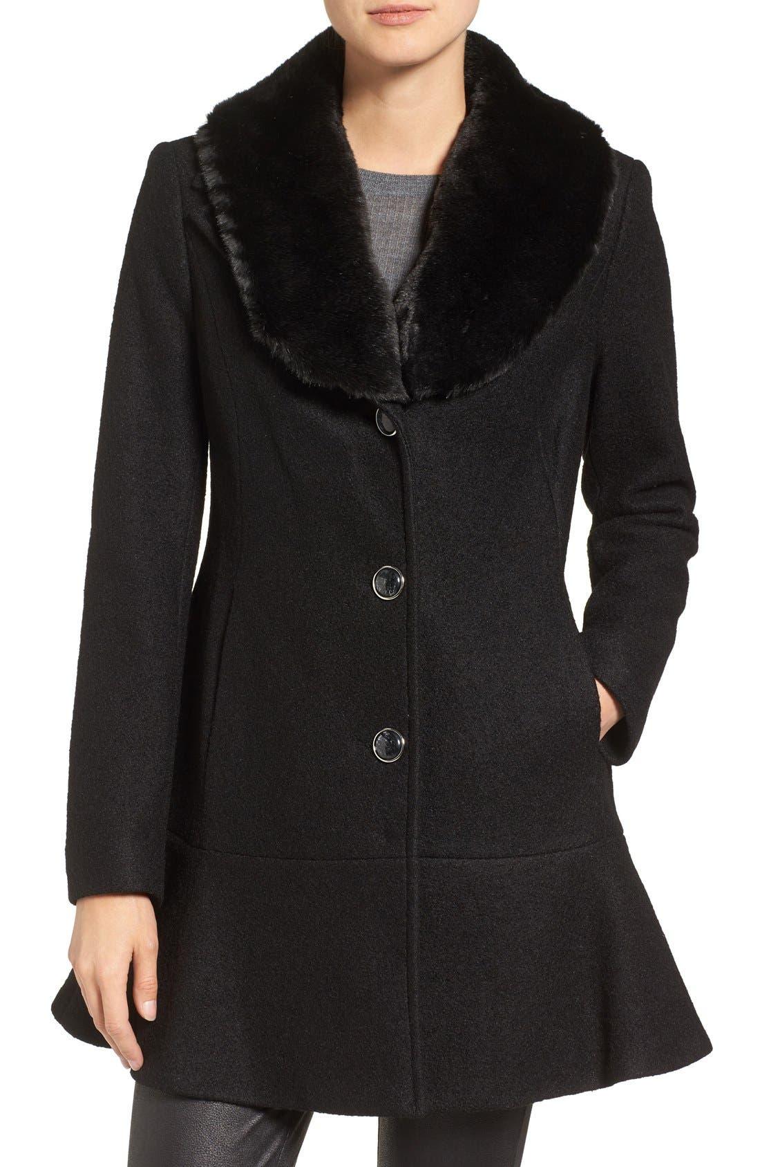 Alternate Image 1 Selected - kensie Removable Faux Fur Collar Skirted Coat