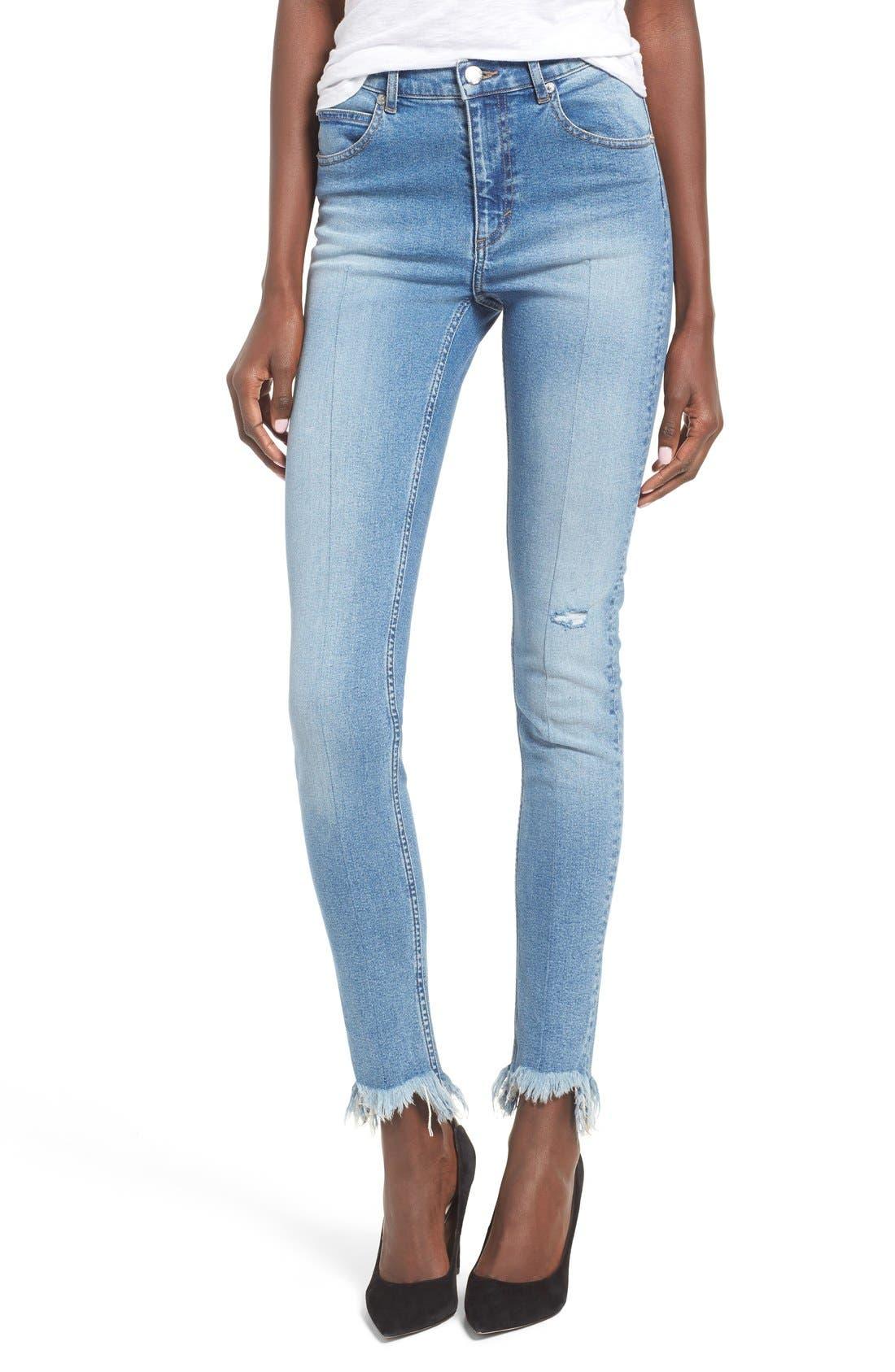 Main Image - Cheap Monday Second Frayed Hem Skinny Jeans (Edit Blue)