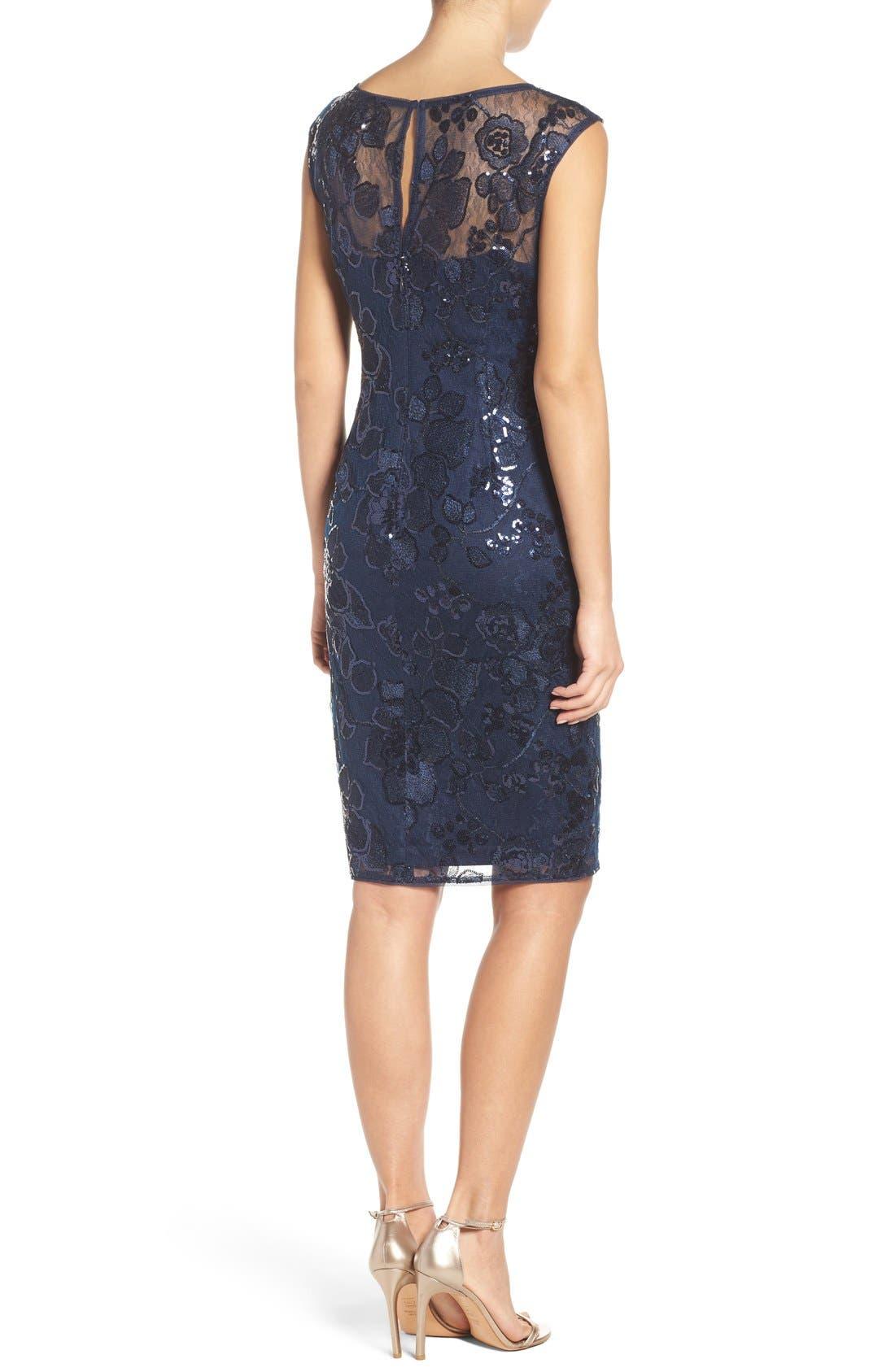 Alternate Image 2  - Adrianna Papell Embellished Lace Sheath Dress