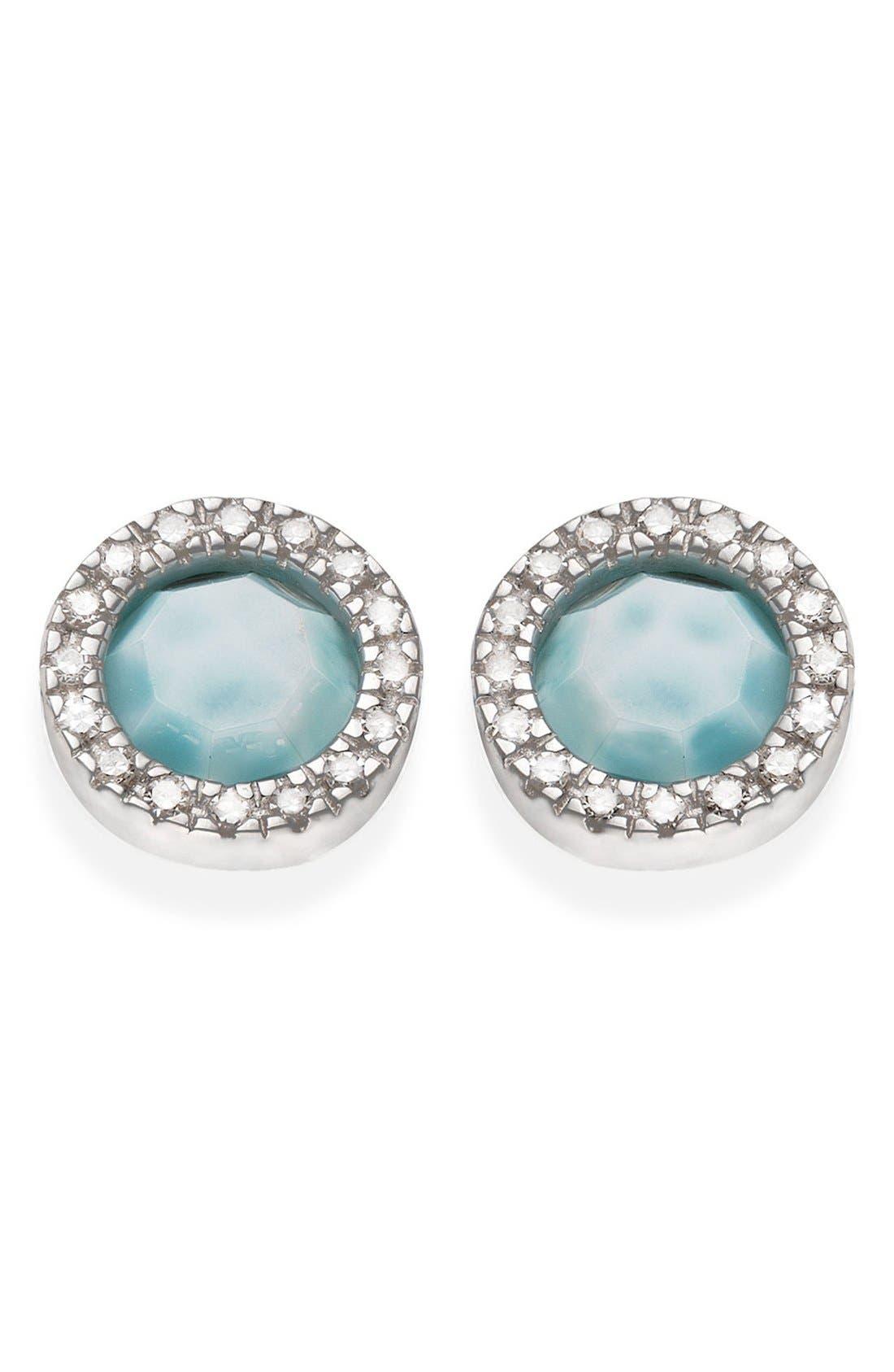 Monica Vinader Naida Diamond & Larimar Circle Stud Earrings