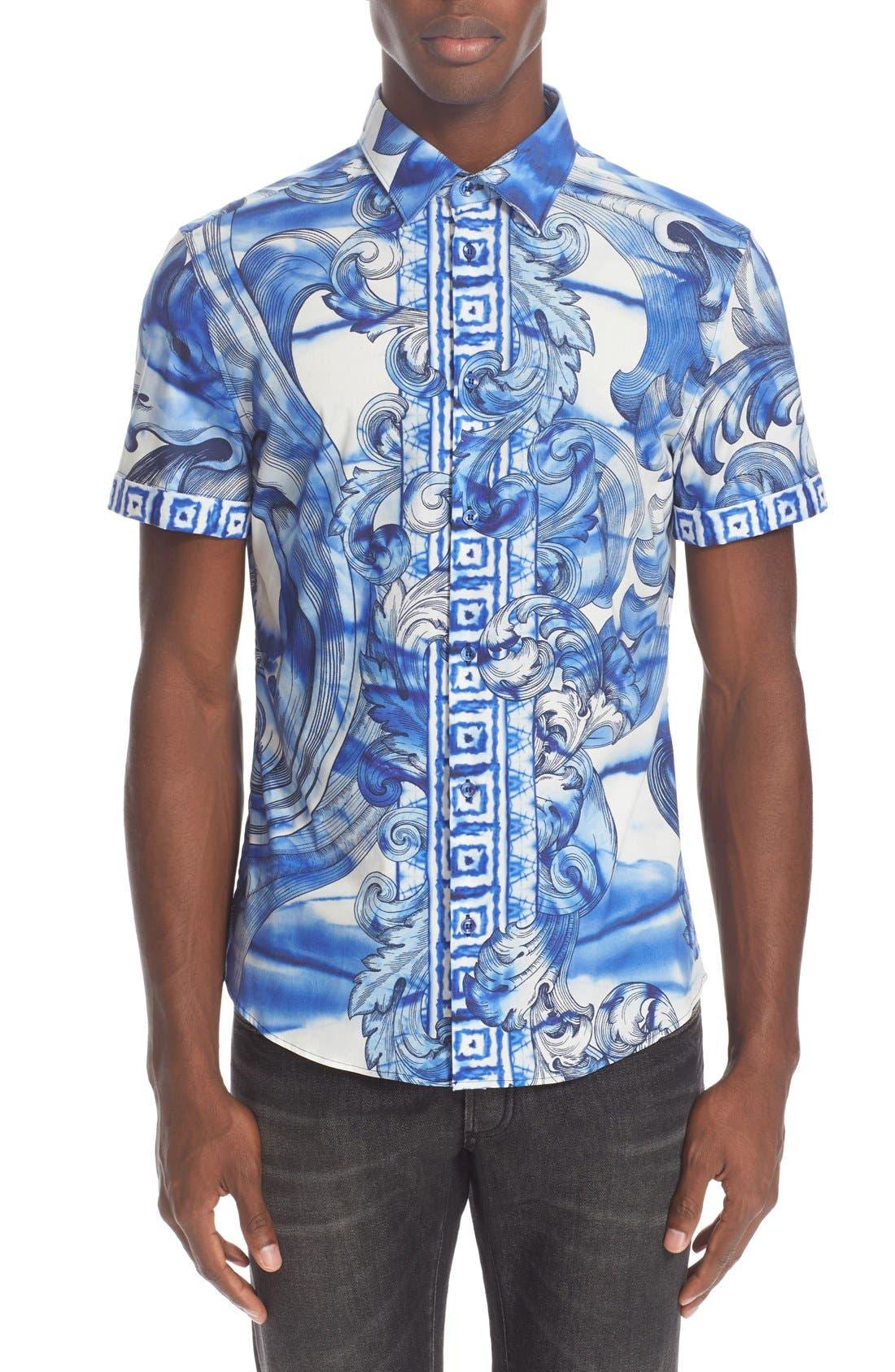 Main Image - Versace Collection Trim Fit Tie Dye Short Sleeve Sport Shirt