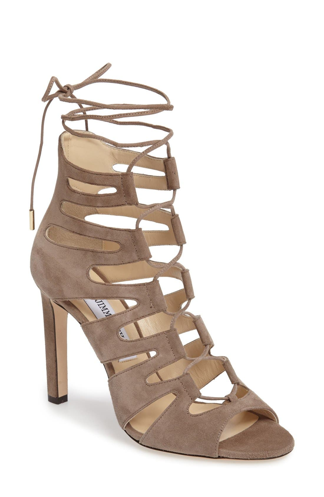 JIMMY CHOO 'Hitch' Lace-Up Cage Sandal