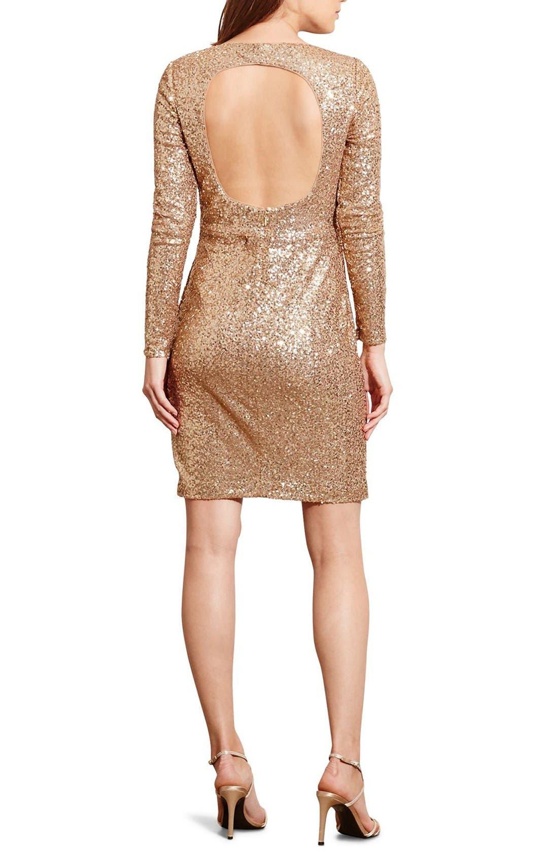 Alternate Image 2  - Lauren Ralph Lauren Backless Sequin Dress (Petite)