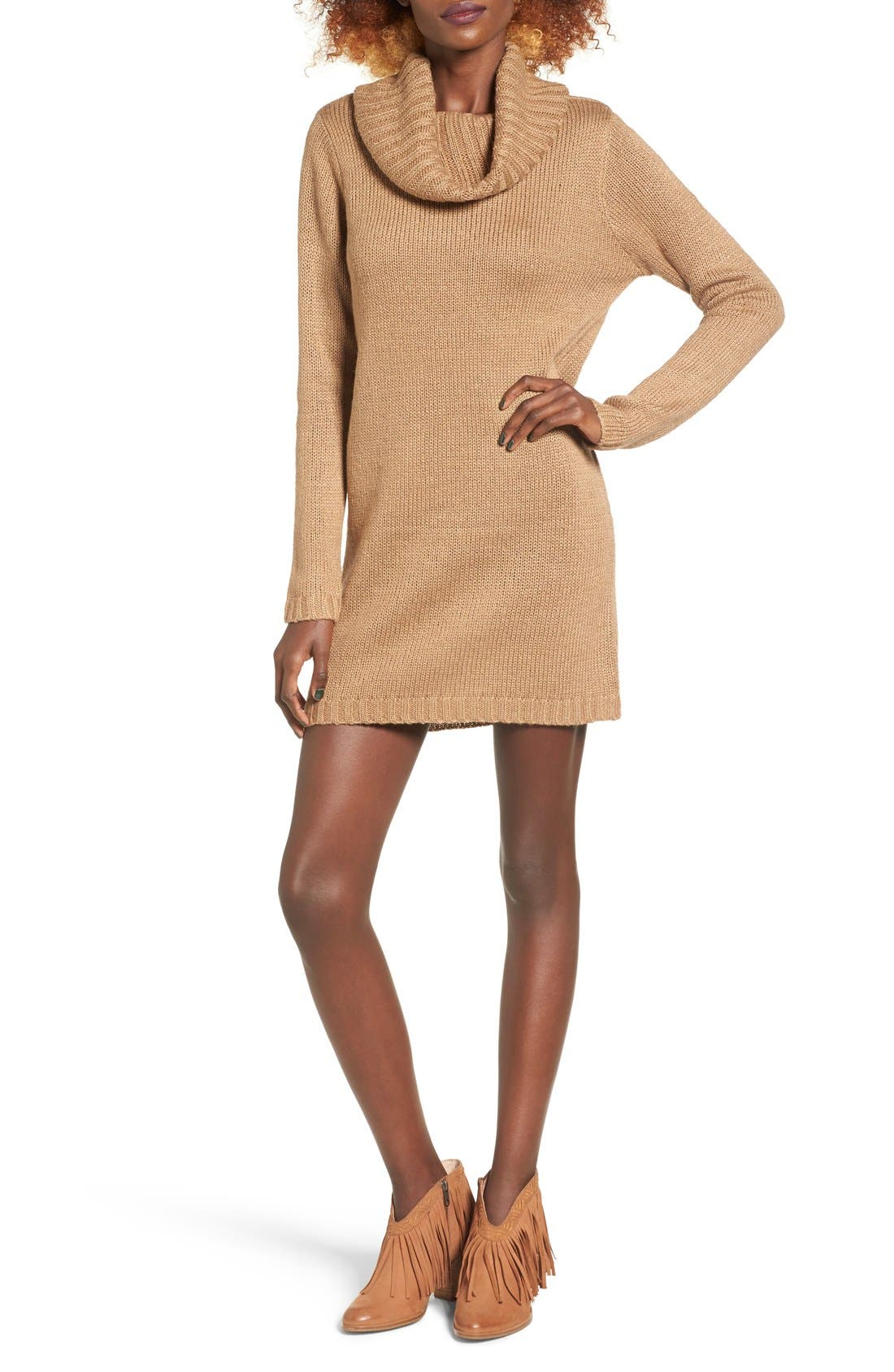Alternate Image 1 Selected - Cotton Emporium Turtleneck Sweater Dress