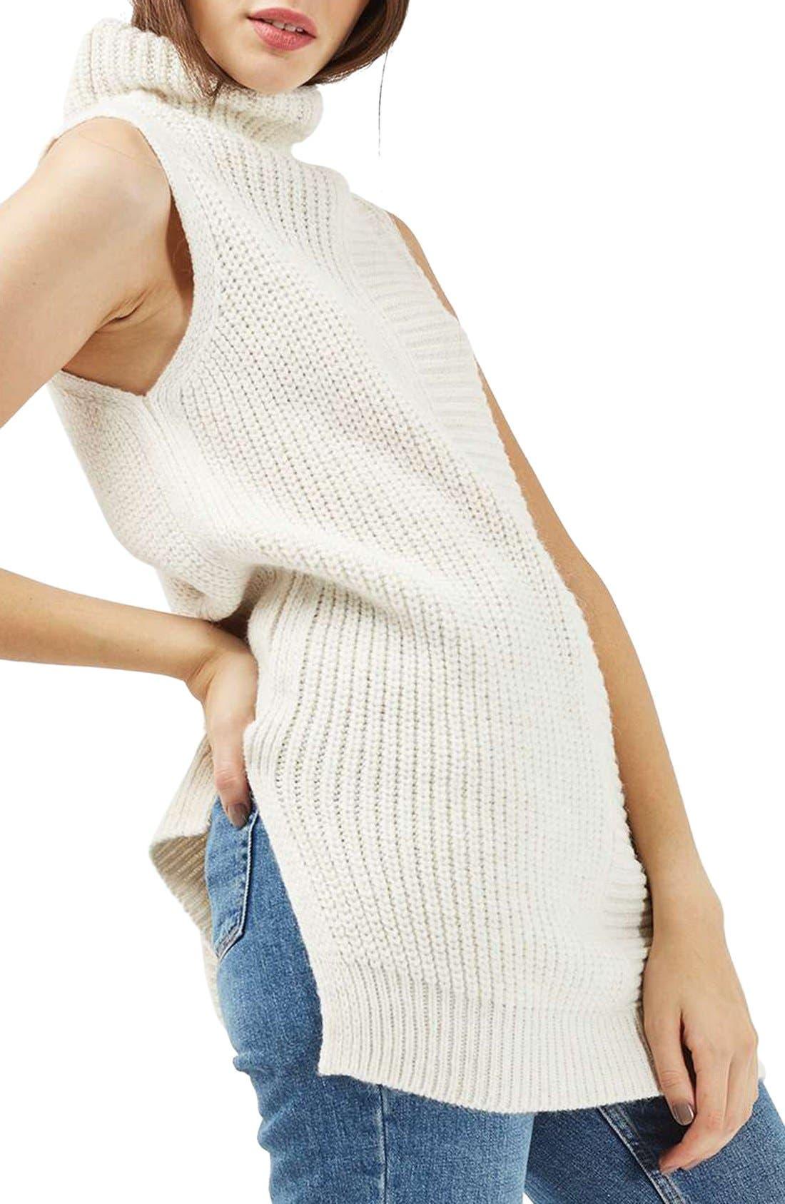 TOPSHOP Sleeveless Turtleneck Sweater