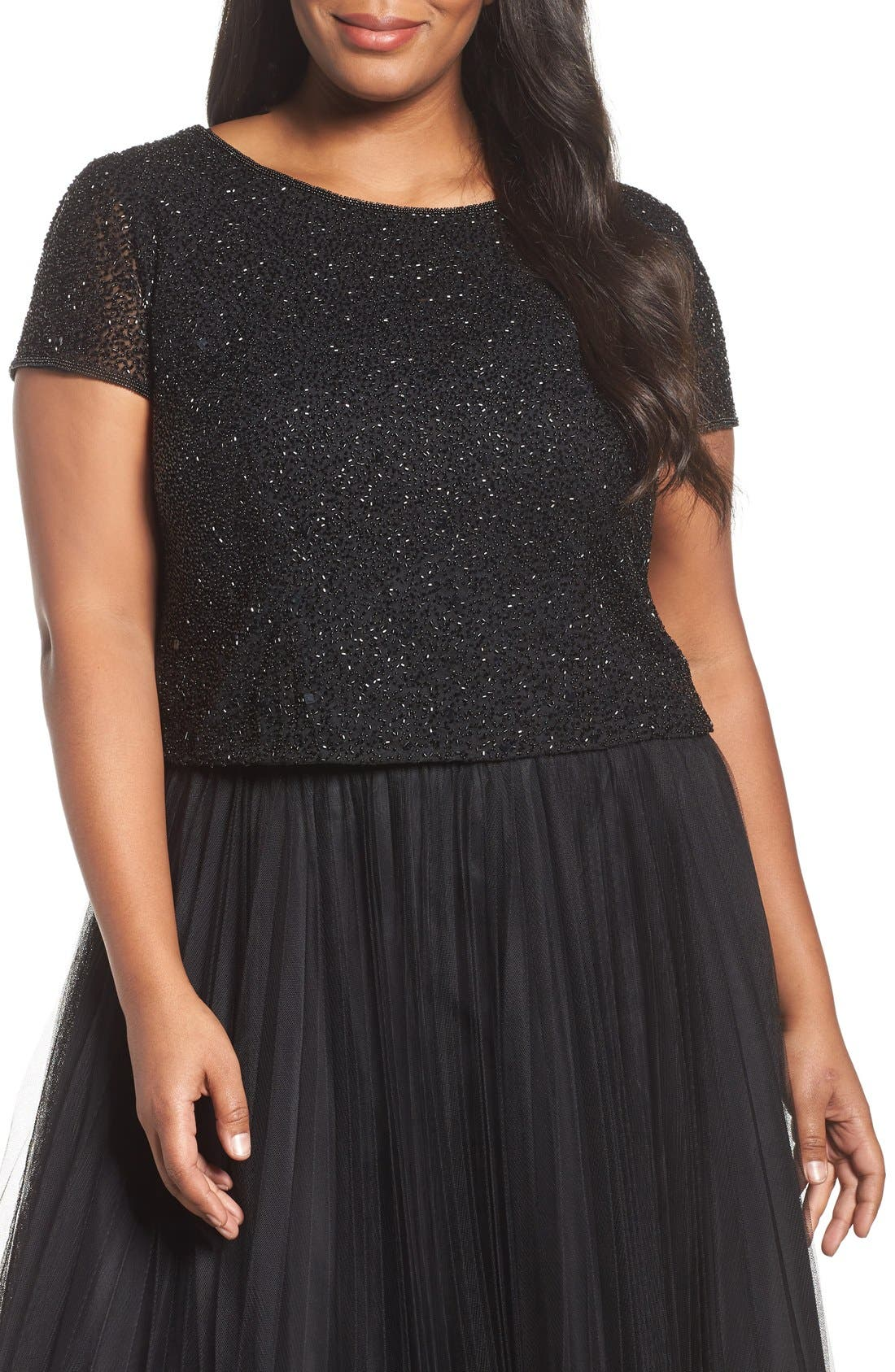 papell beaded crop top plus size nordstrom