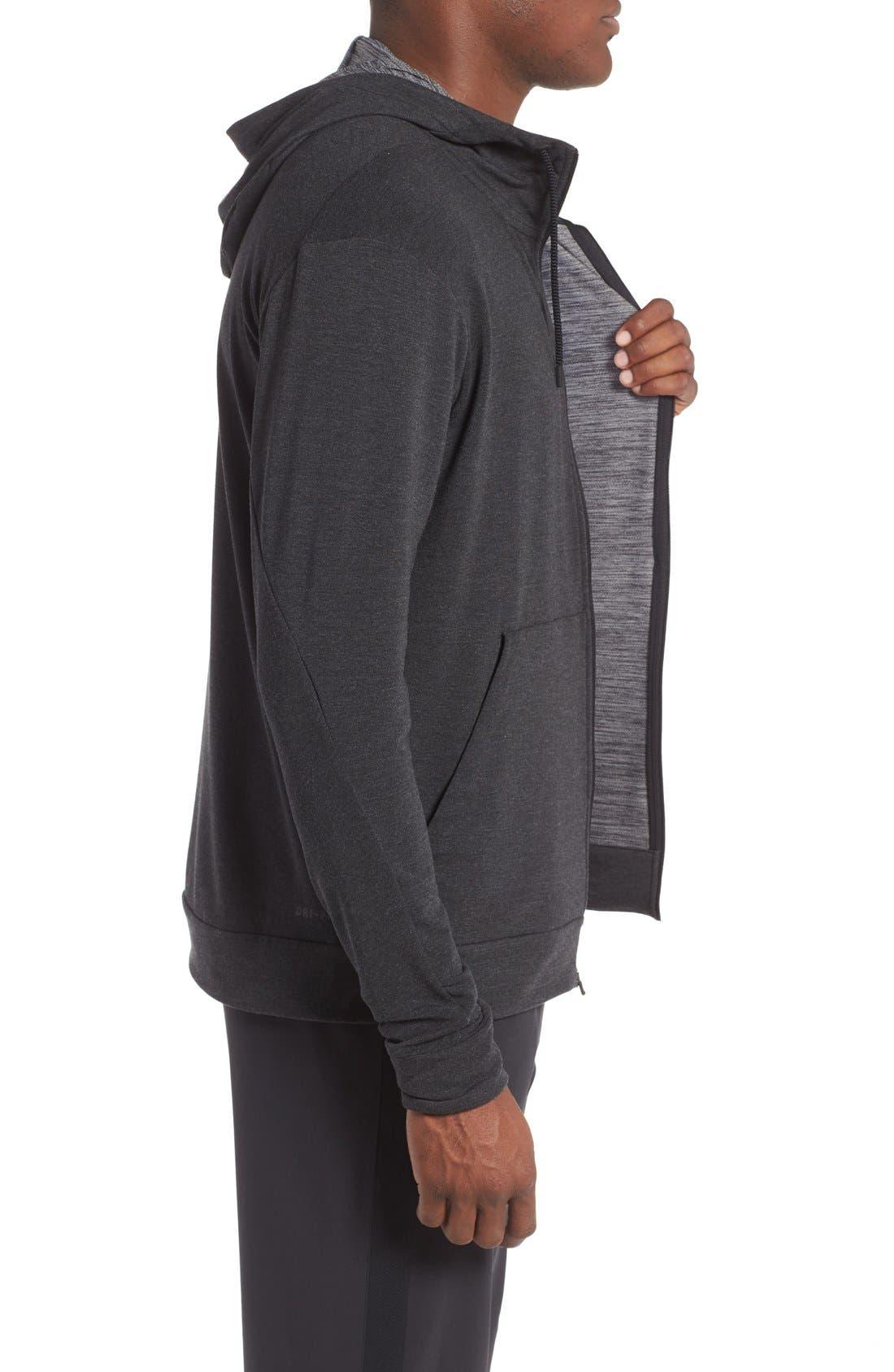 Alternate Image 3  - Nike Dri-Fit Training Fleece Hooded Sweatshirt