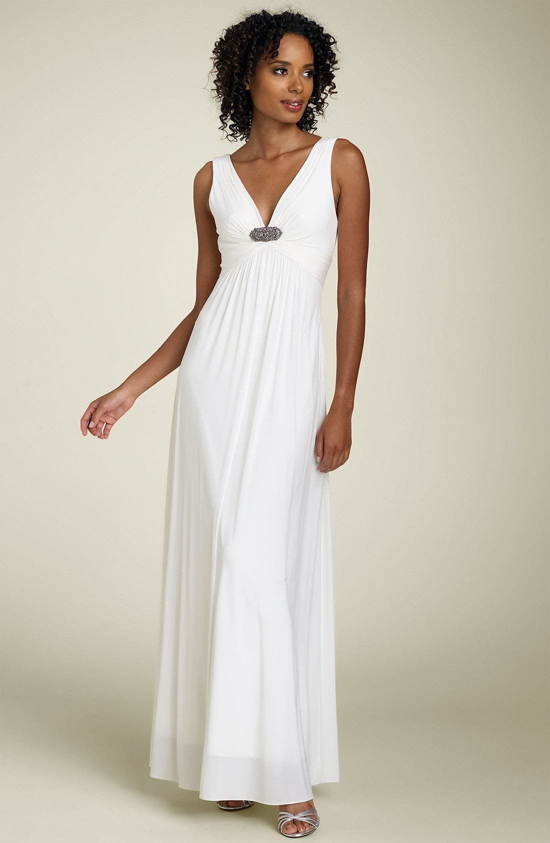 Alternate Image 1 Selected - BCBGMAXAZRIA Jeweled Jersey Gown