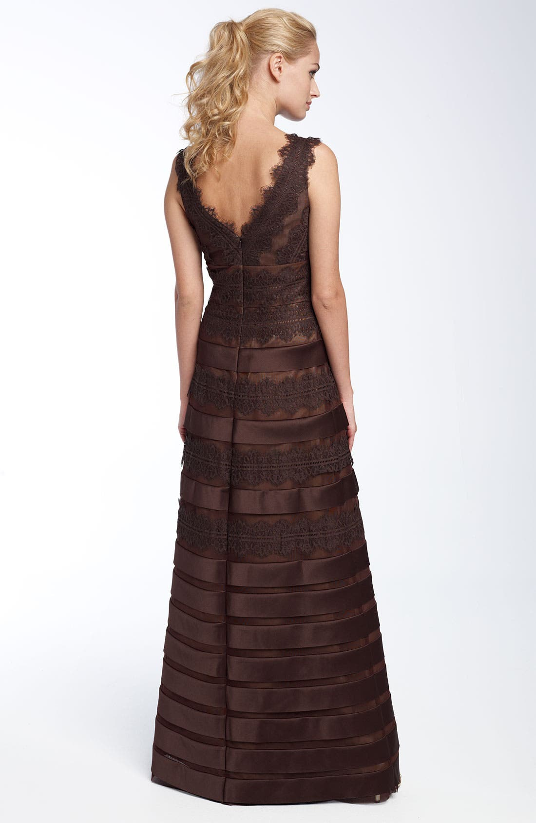 Alternate Image 2  - JS Collections Satin Lace Mesh Gown