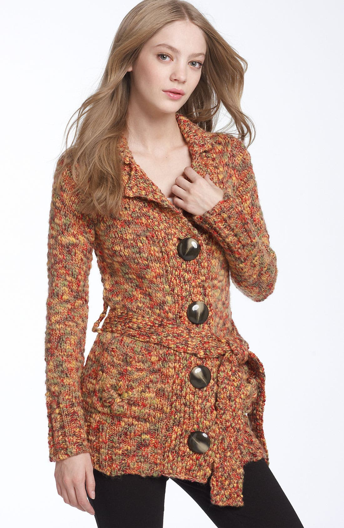 Main Image - Leifsdottir Belted Mélange Sweater Coat