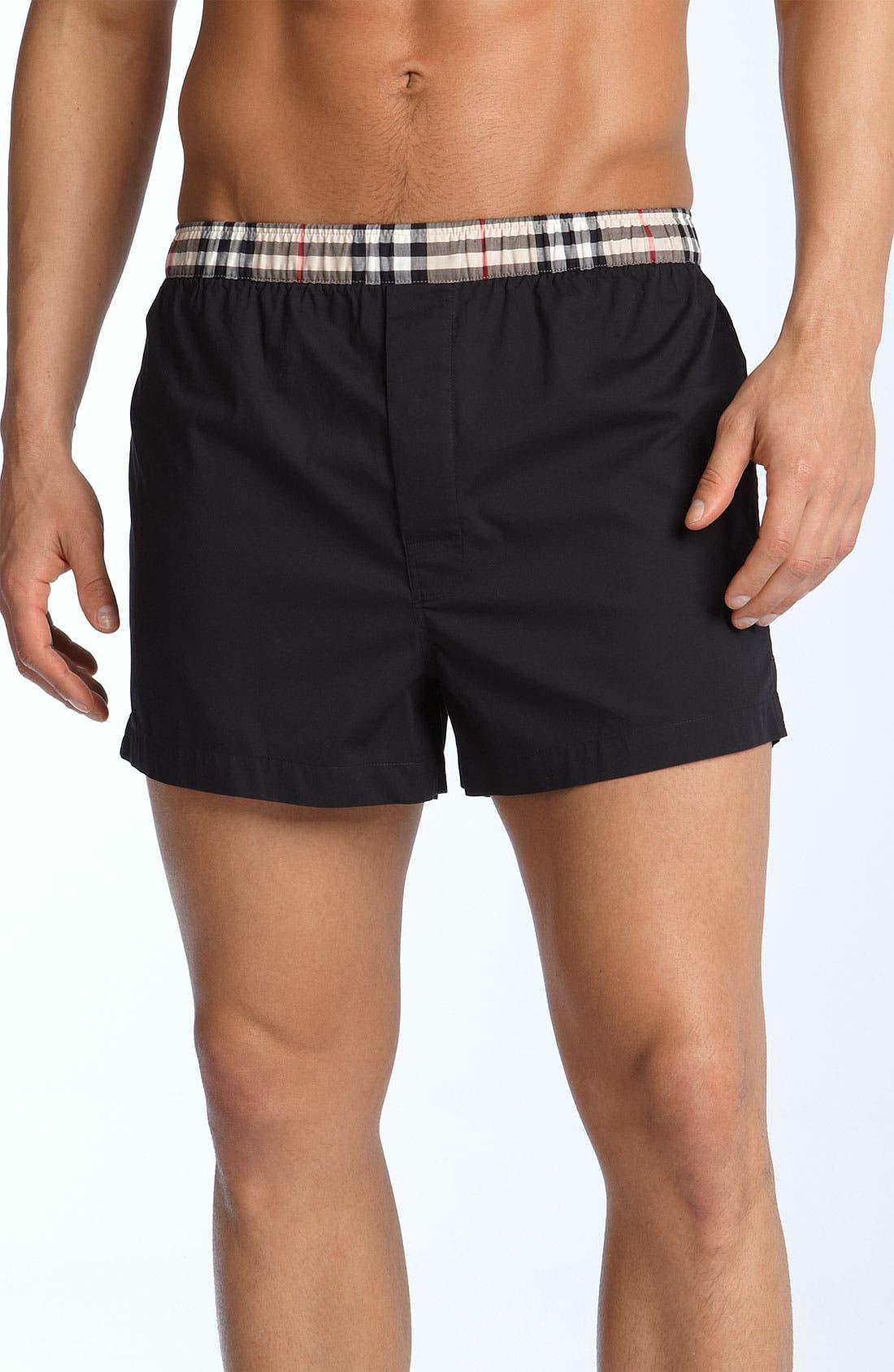 Main Image - Burberry Check Print Woven Boxer Shorts