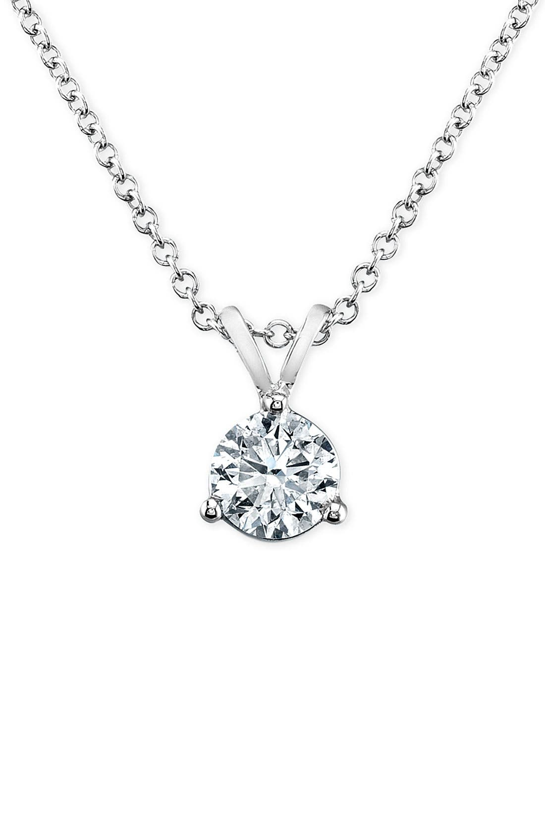 Main Image - Bony Levy 'Solitaire' Diamond Pendant Necklace (Nordstrom Exclusive)