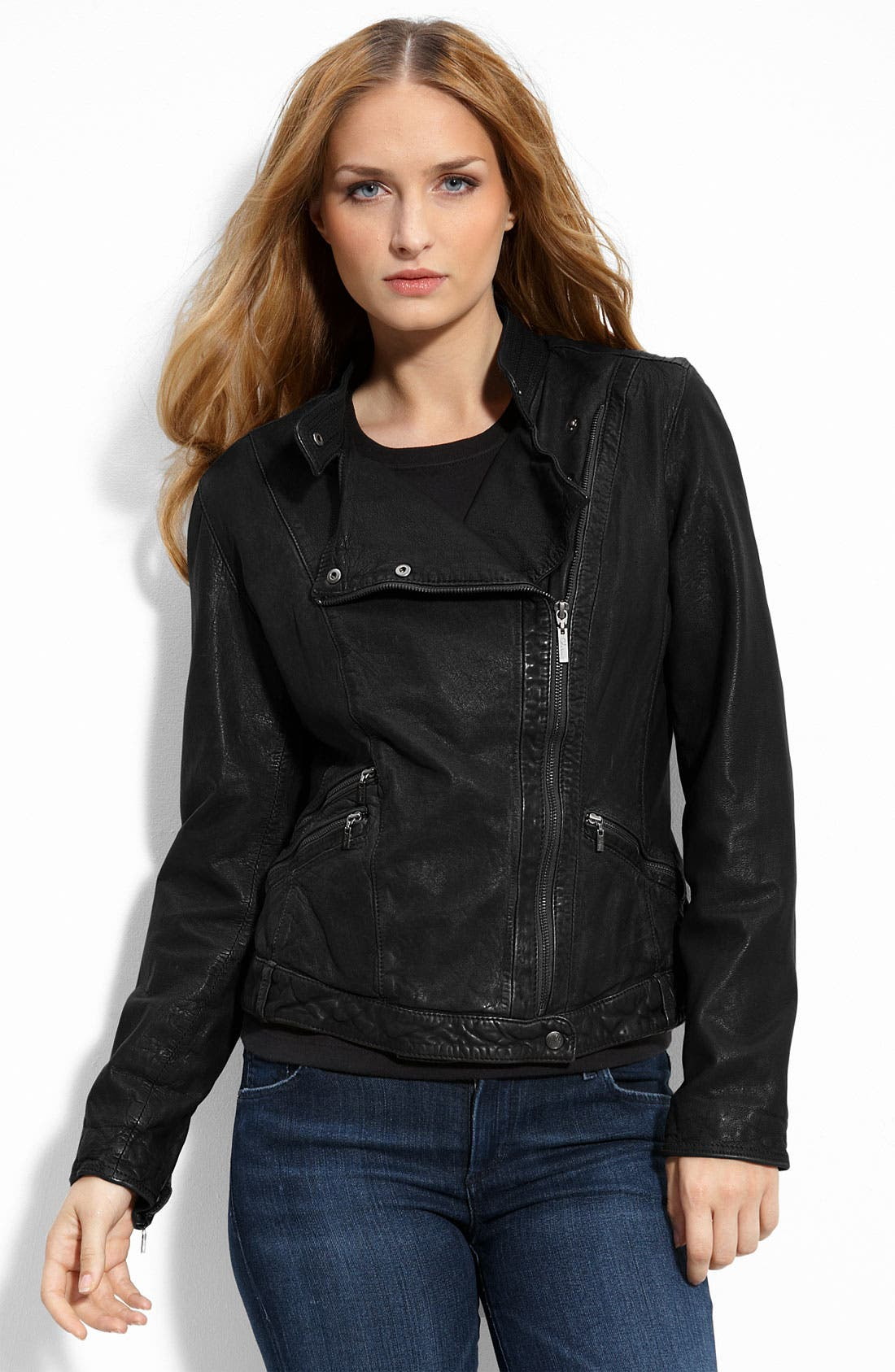 Alternate Image 1 Selected - Cole Haan Washed Lambskin Leather Motorcycle Jacket