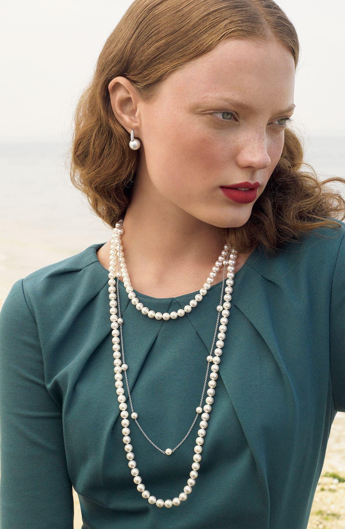 Alternate Image 4  - Mikimoto 'Classic Elegance' Diamond & Cultured Pearl Earrings