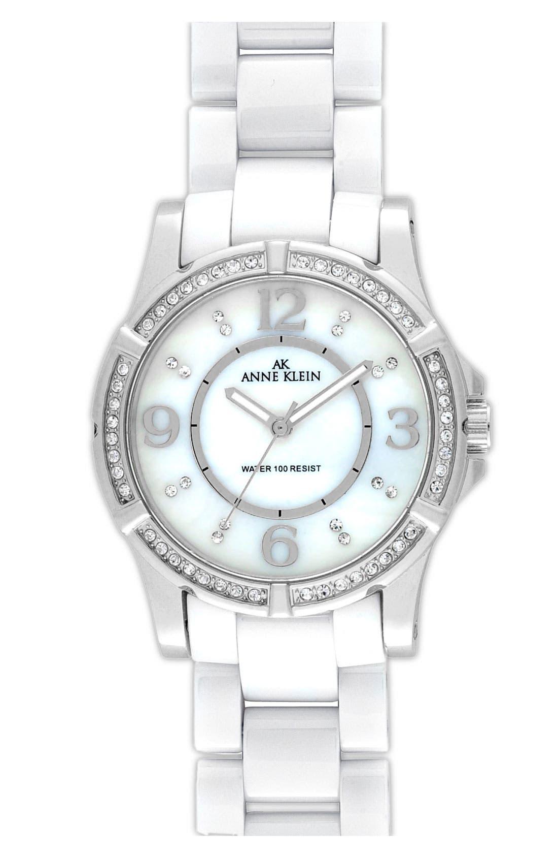 Alternate Image 1 Selected - Anne Klein Crystal & Ceramic Bracelet Watch