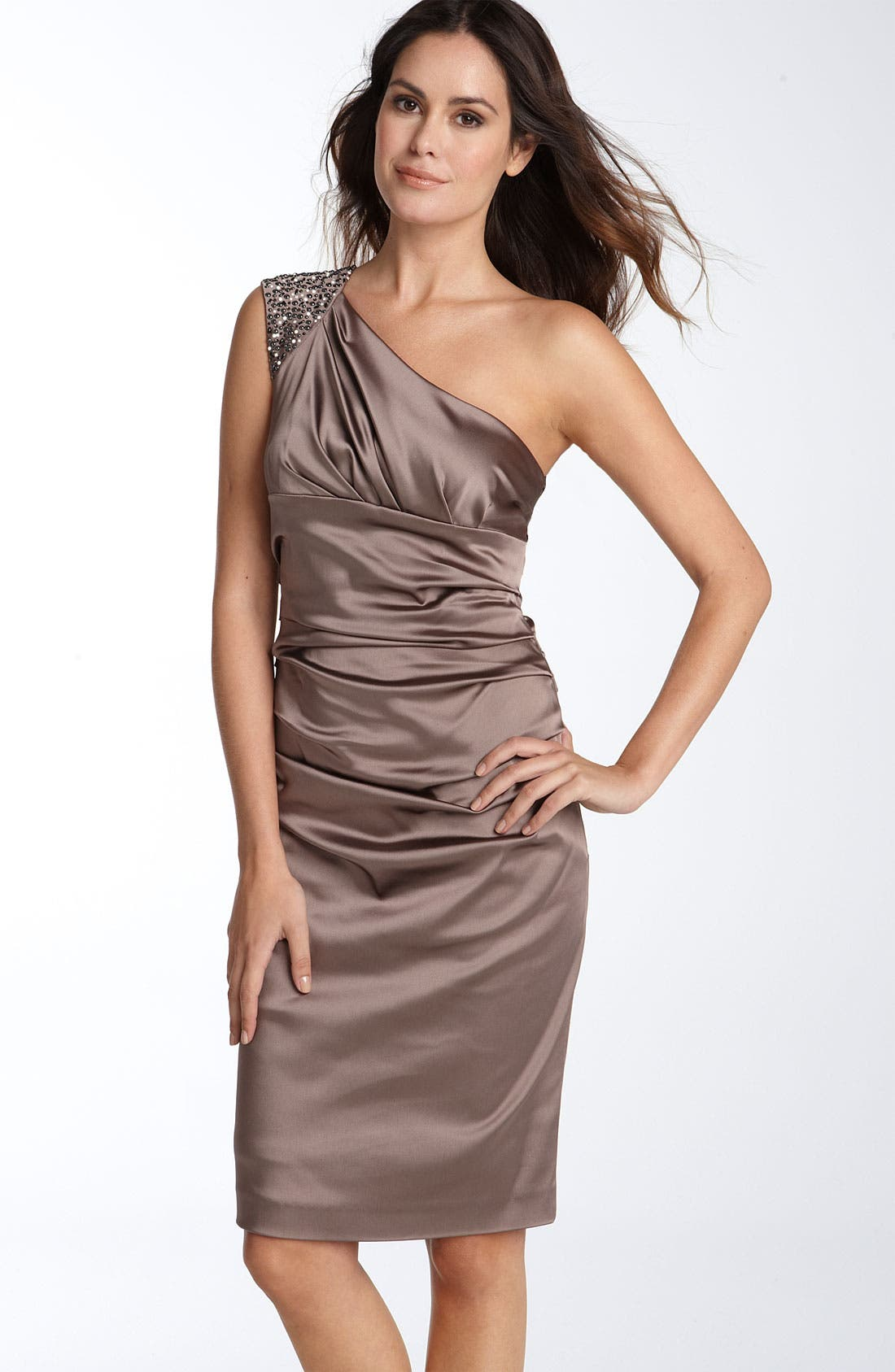 Alternate Image 1 Selected - Suzi Chin for Maggy Boutique Beaded One Shoulder Stretch Satin Sheath Dress