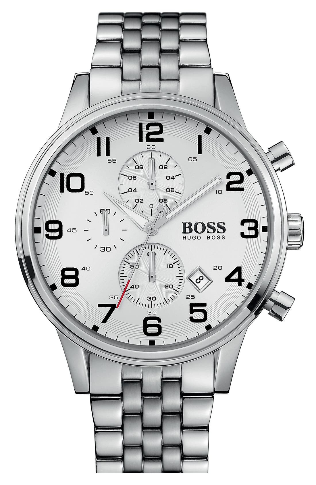 Main Image - BOSS HUGO BOSS Chronograph Stainless Steel Bracelet Watch, 44mm
