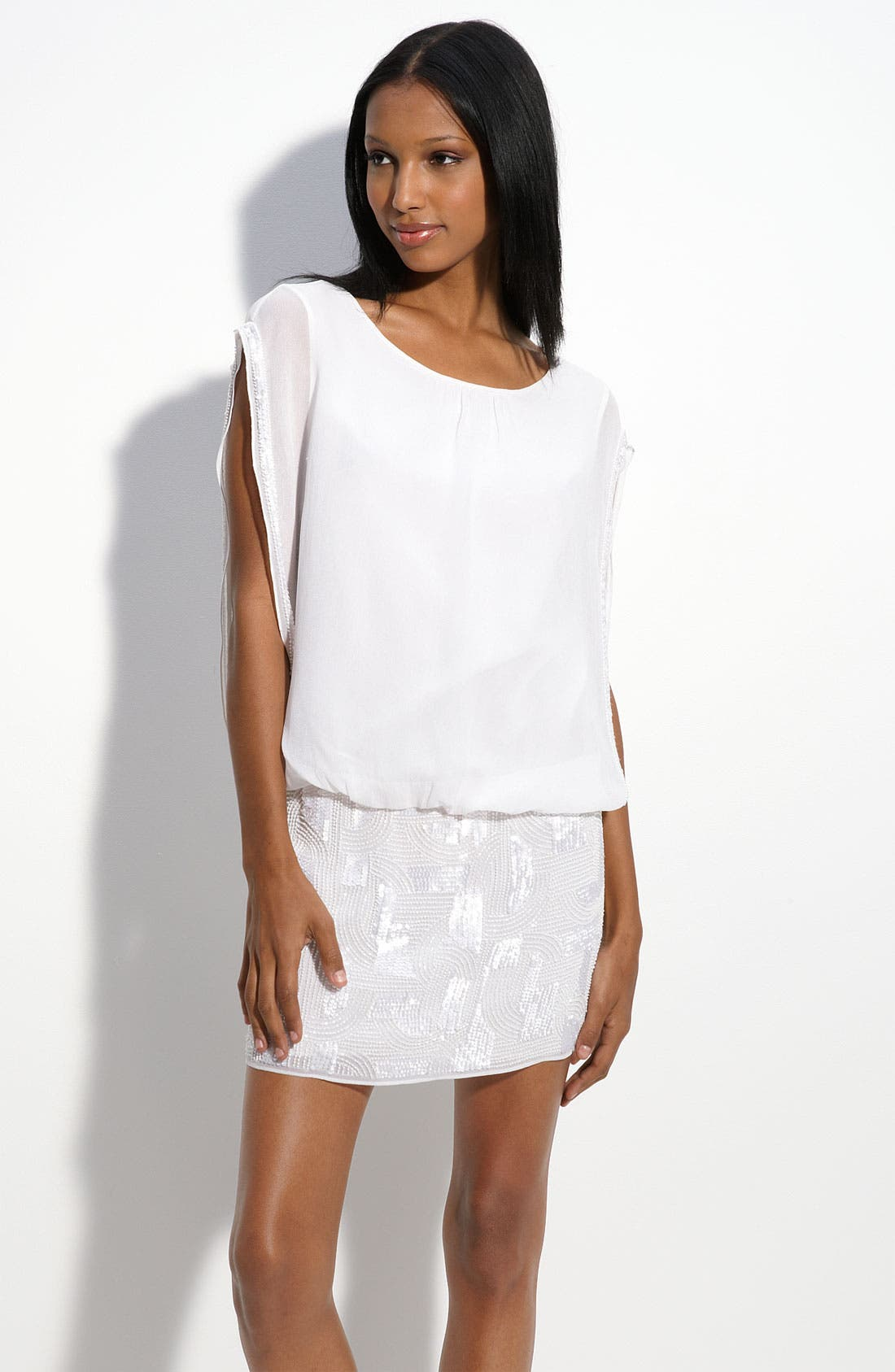 Alternate Image 1 Selected - Aidan Mattox Sequin Skirt Blouson Dress