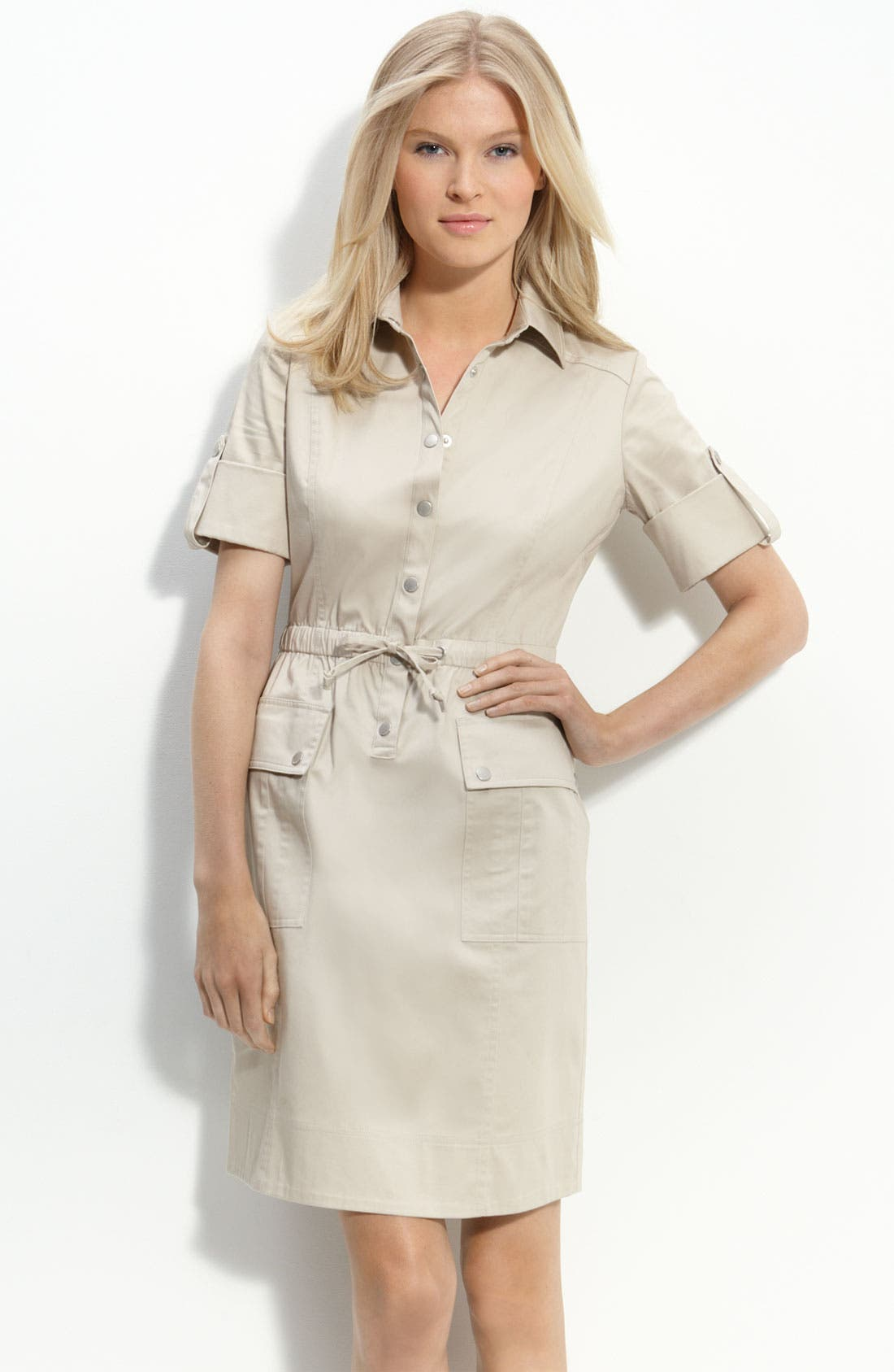 Alternate Image 1 Selected - Calvin Klein Drawstring Waist Stretch Cotton Shirtdress