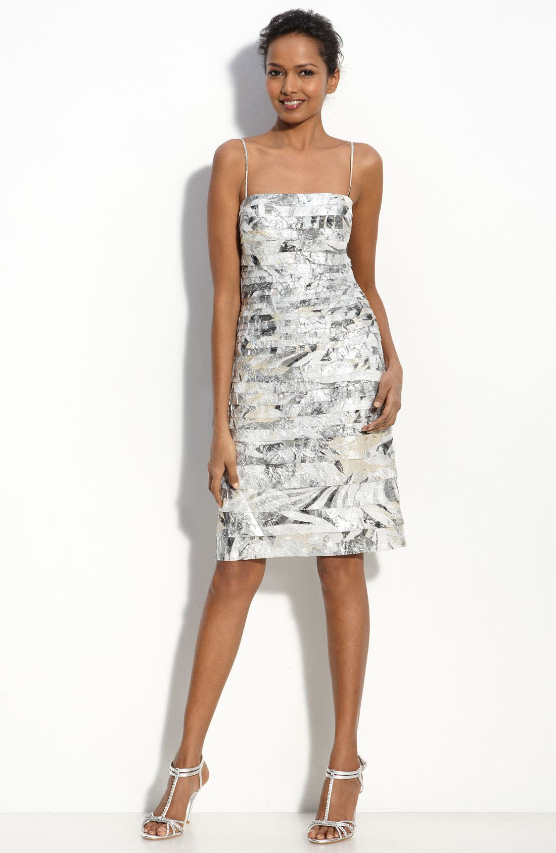 Main Image - JS Collections Tiered Metallic Crepe Sheath Dress