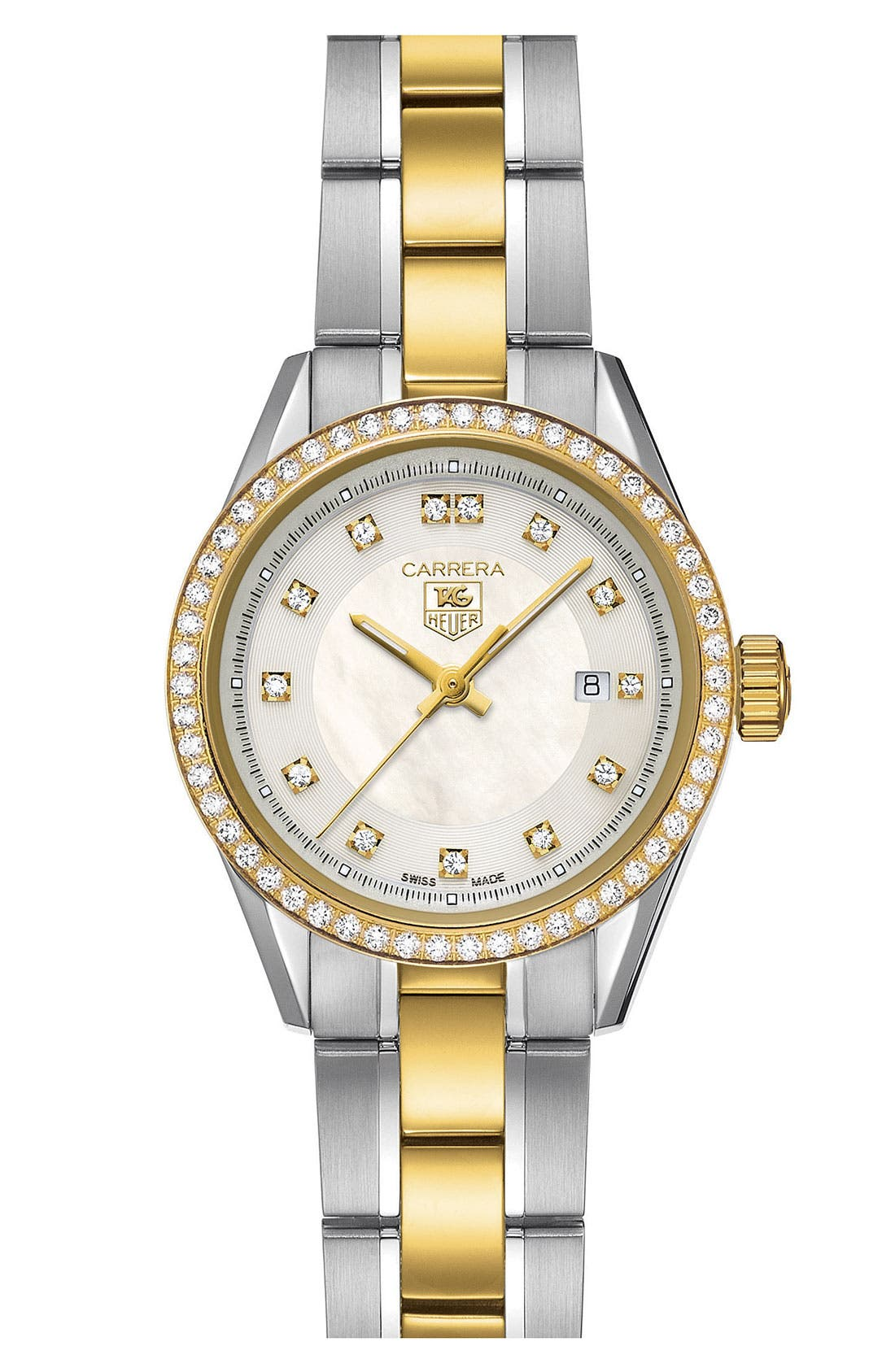 Alternate Image 1 Selected - TAG Heuer 'Carrera' Diamond Two Tone Watch