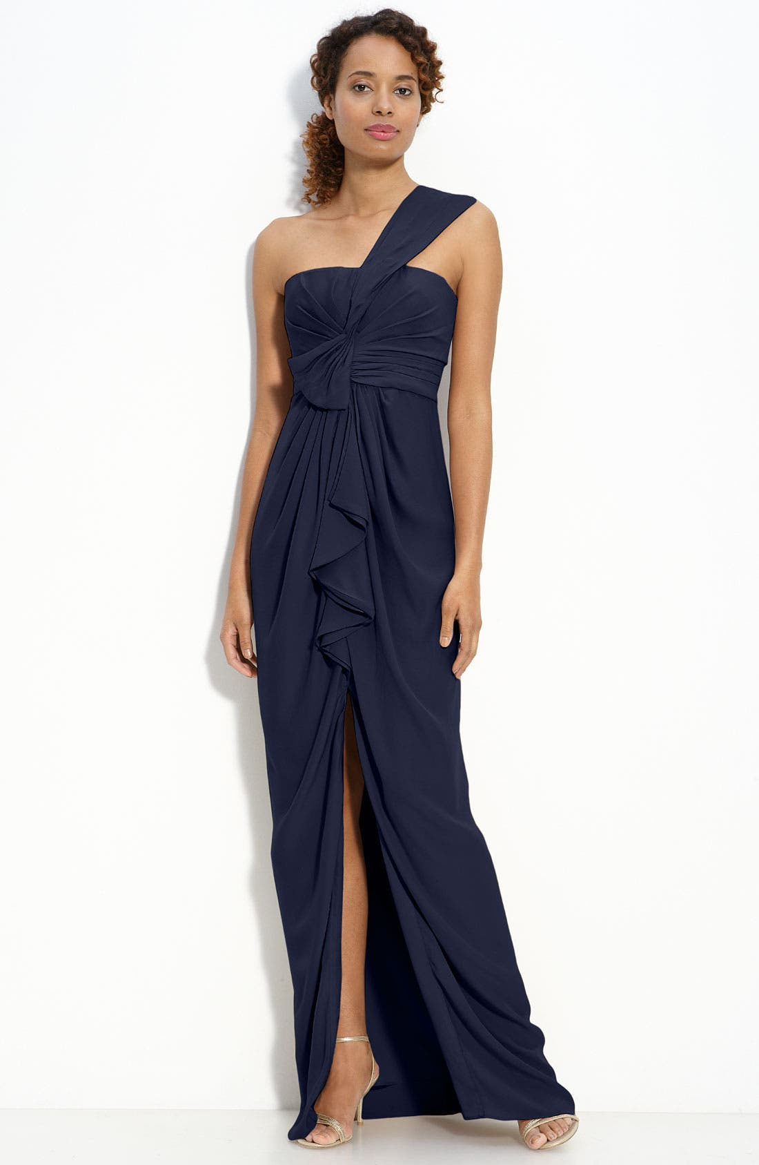 Alternate Image 1 Selected - BCBGMAXAZRIA Ruffle Front One Shoulder Satin Gown