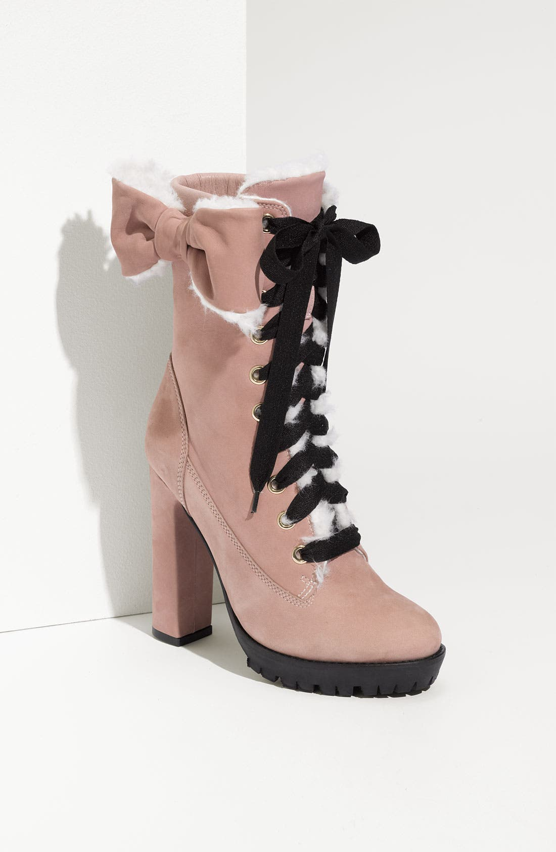 Main Image - RED Valentino Faux Fur Lined Pink Bow Boot