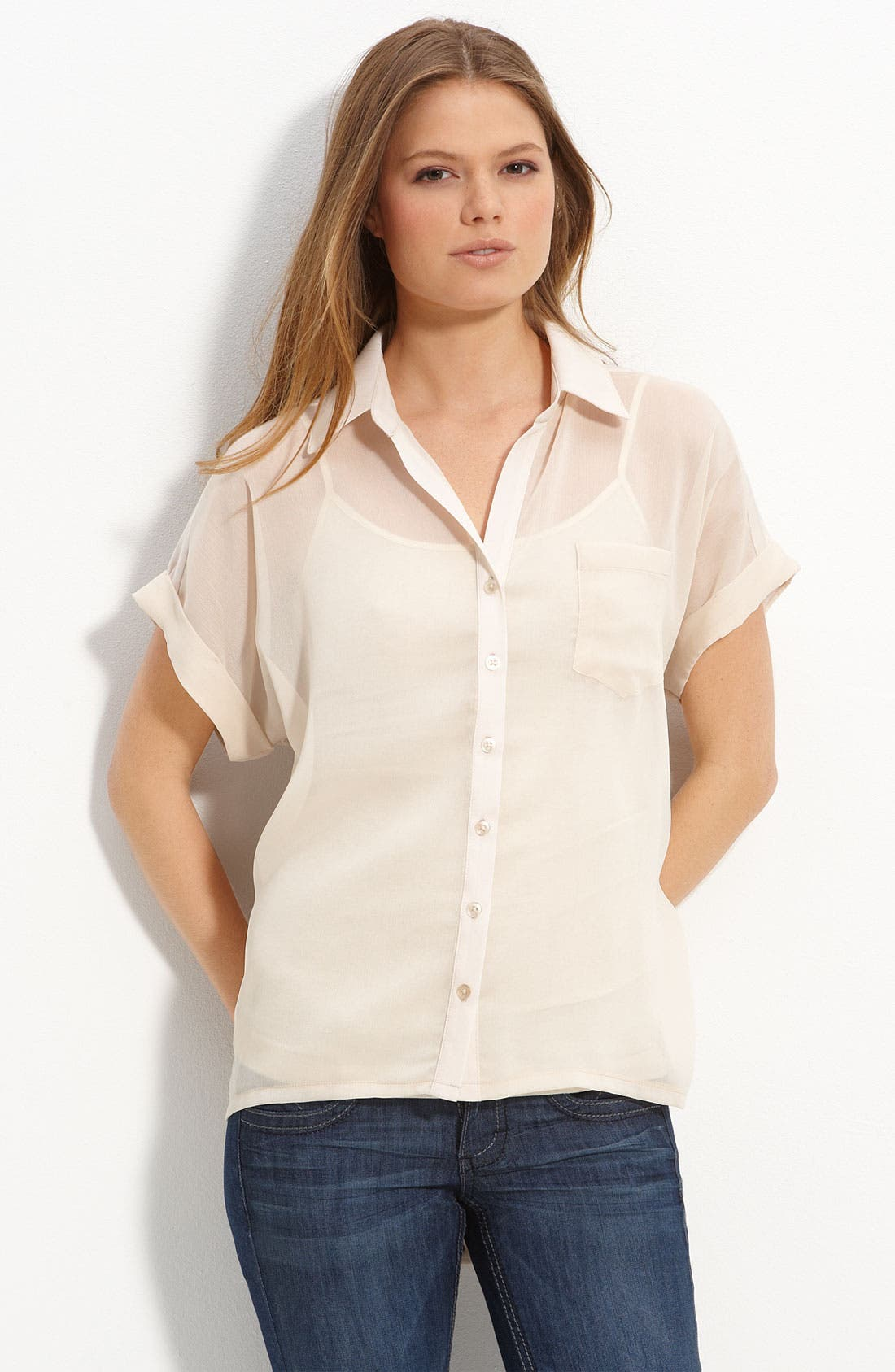 Main Image - Lush Sheer High-Low Hem Shirt (Juniors)