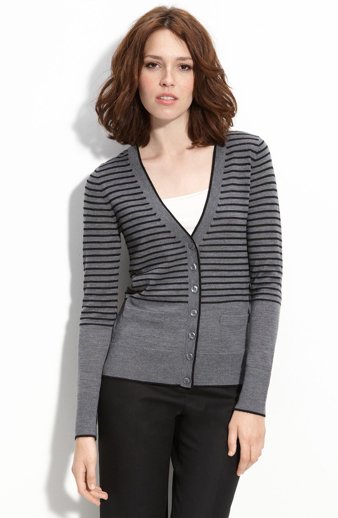 Halogen® Solid & Stripe Merino Wool V-Neck Cardigan