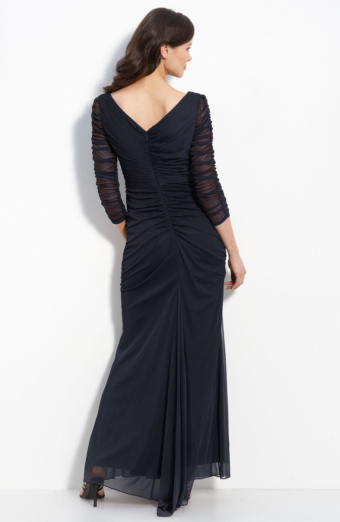 Alternate Image 2  - Adrianna Papell Beaded Mesh Gown (Regular & Petite)