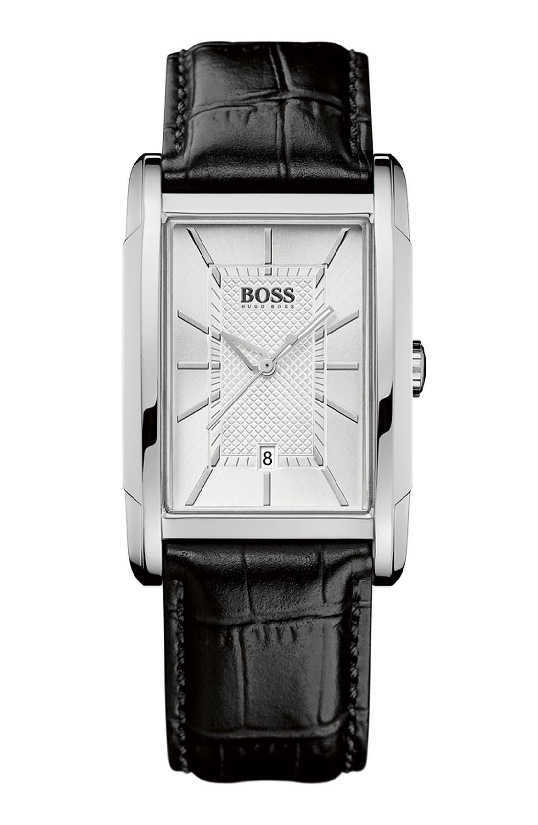 Main Image - BOSS HUGO BOSS Large Rectangular Leather Strap Watch, 30mm x 36mm
