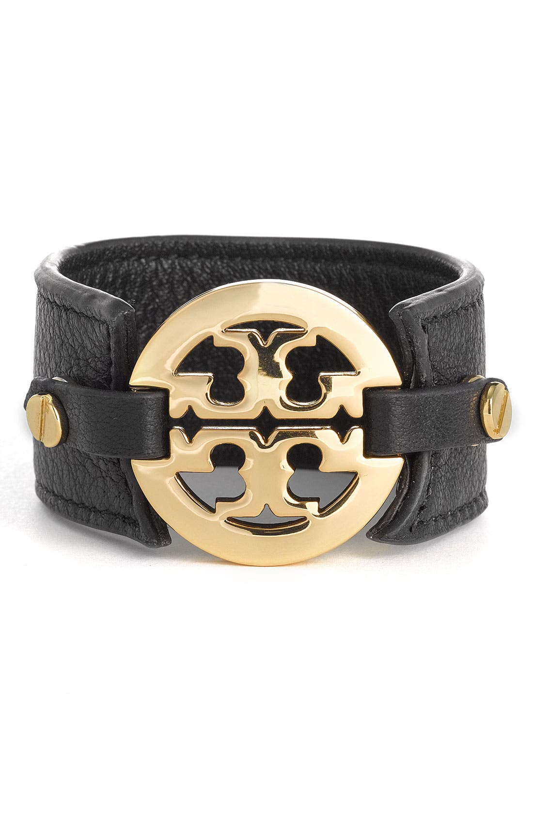 Alternate Image 1 Selected - Tory Burch Leather Logo Buckle Bracelet