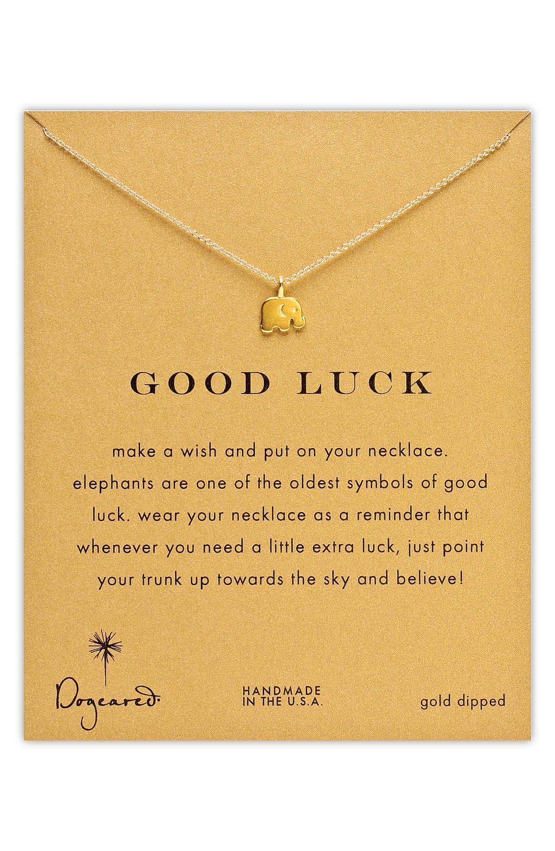 Main Image - Dogeared 'Reminder - Good Luck' Elephant Necklace