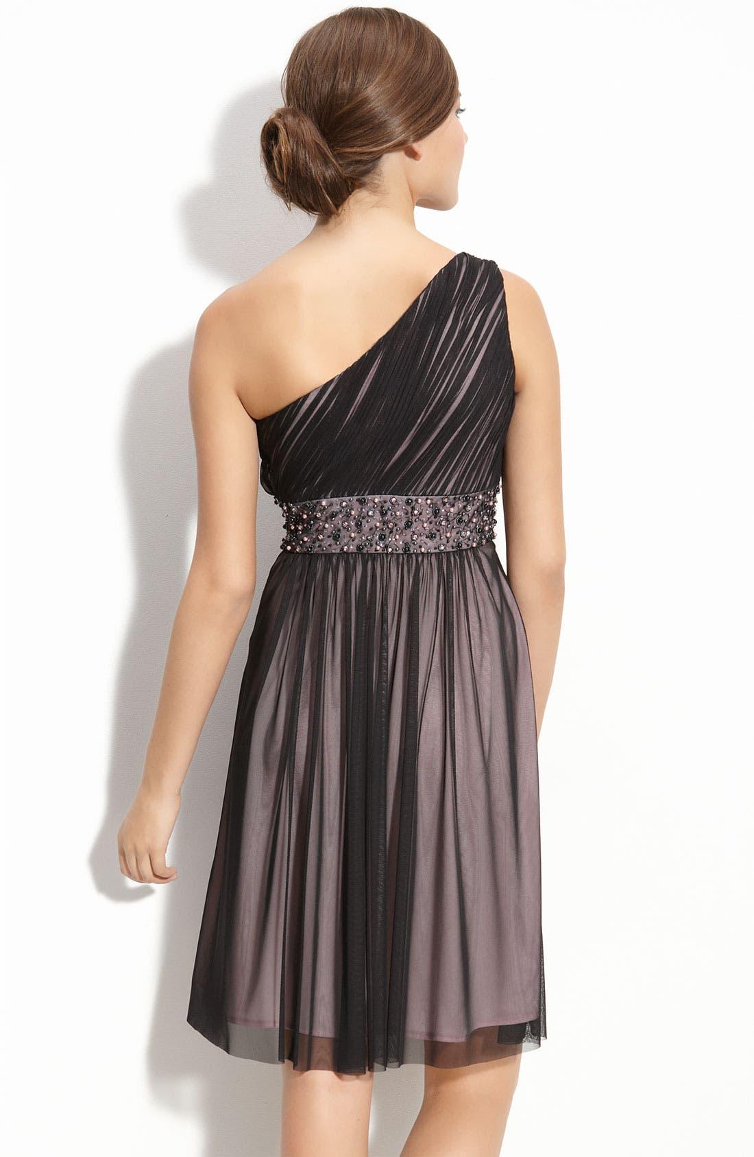 Alternate Image 2  - JS Boutique Beaded Ruched Mesh Dress