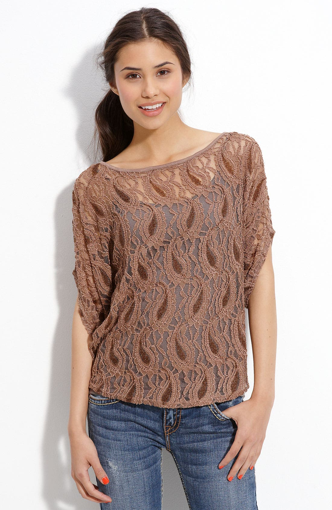 Alternate Image 1 Selected - h.i.p. Crochet Top (Juniors)