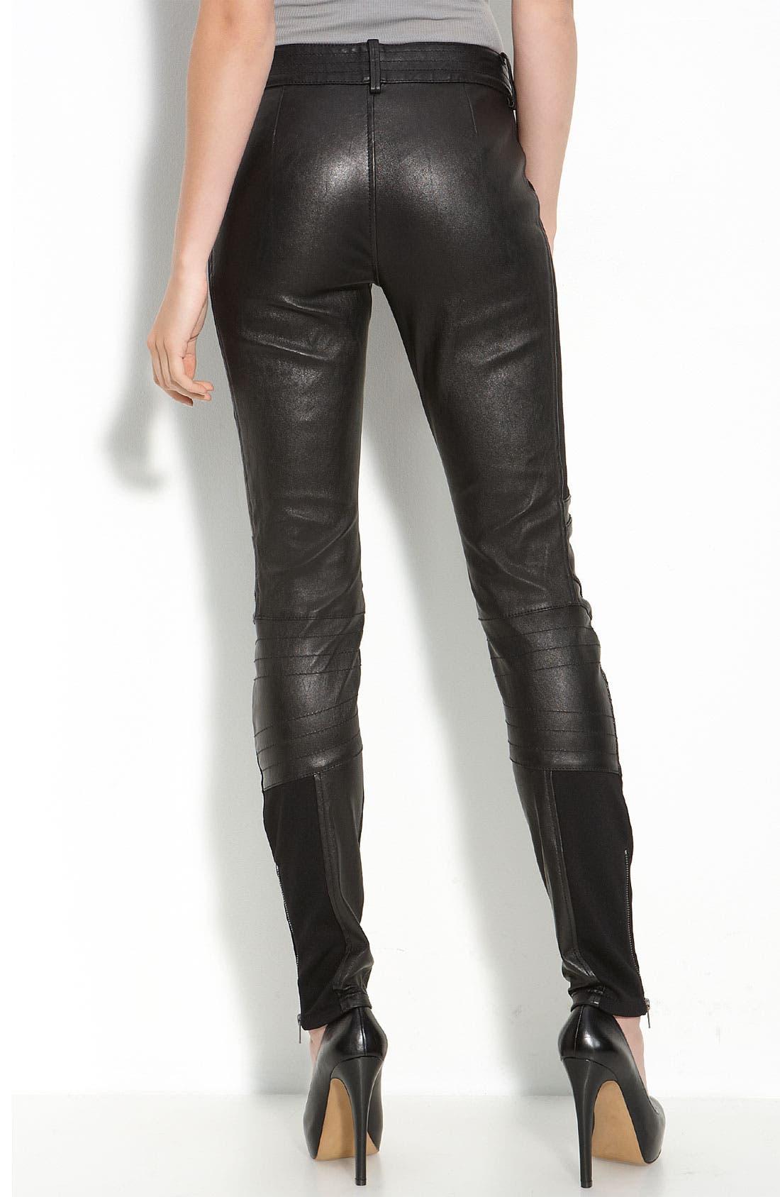 Alternate Image 2  - Leith Leather Moto Leggings