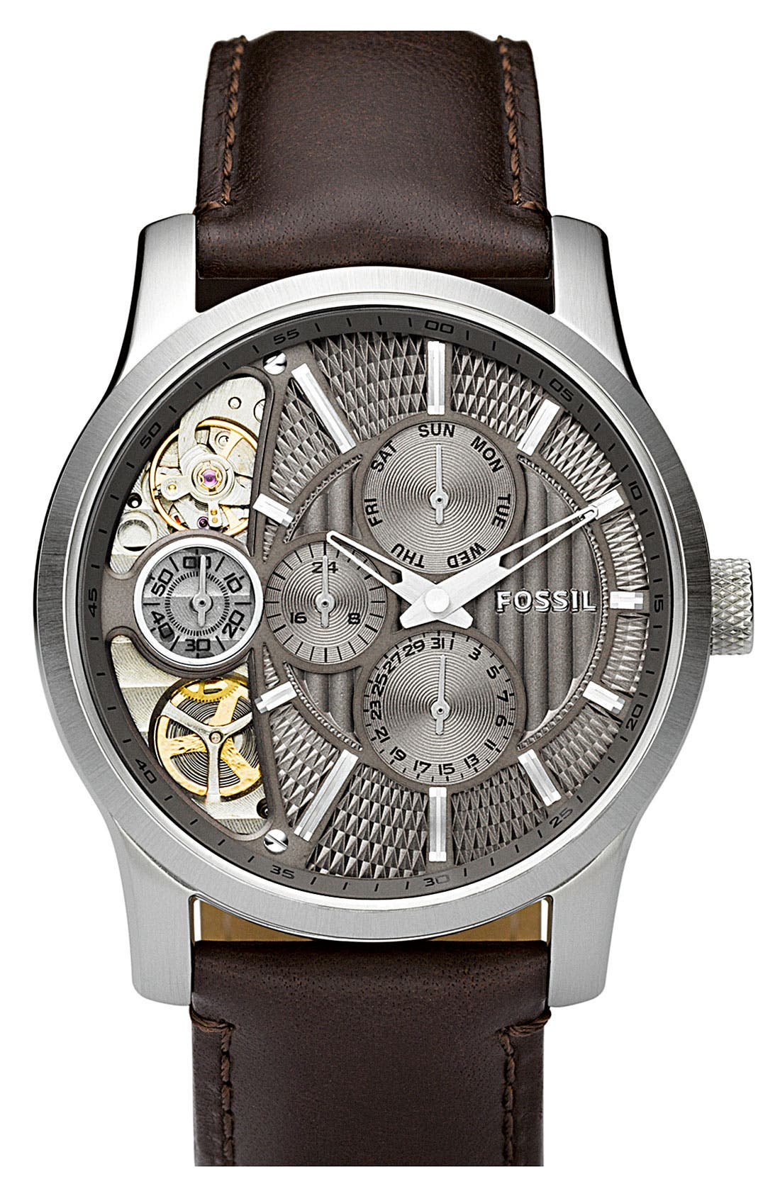 Main Image - Fossil 'Twist' Leather Strap Watch