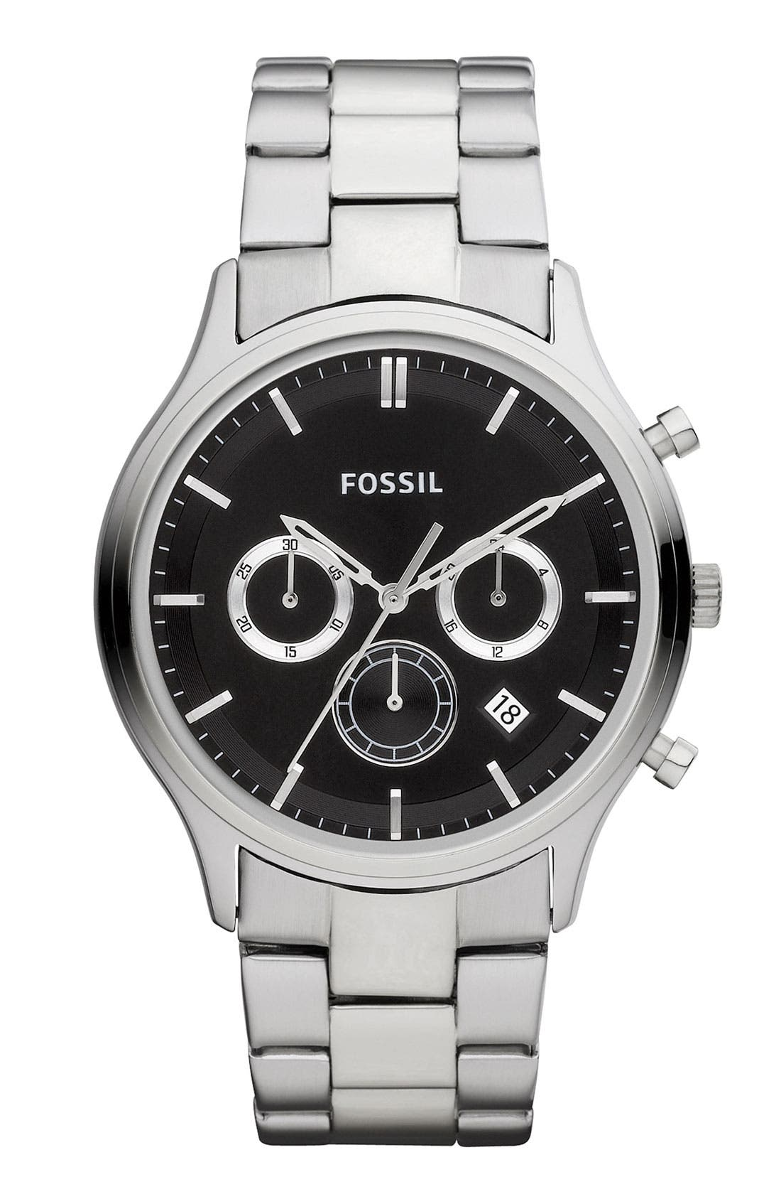 Alternate Image 1 Selected - Fossil 'Ansel' Chronograph Bracelet Watch, 41mm