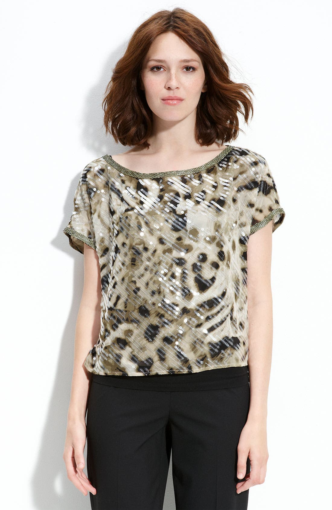 Main Image - Vince Camuto Sequin Boxy Top (Petite)