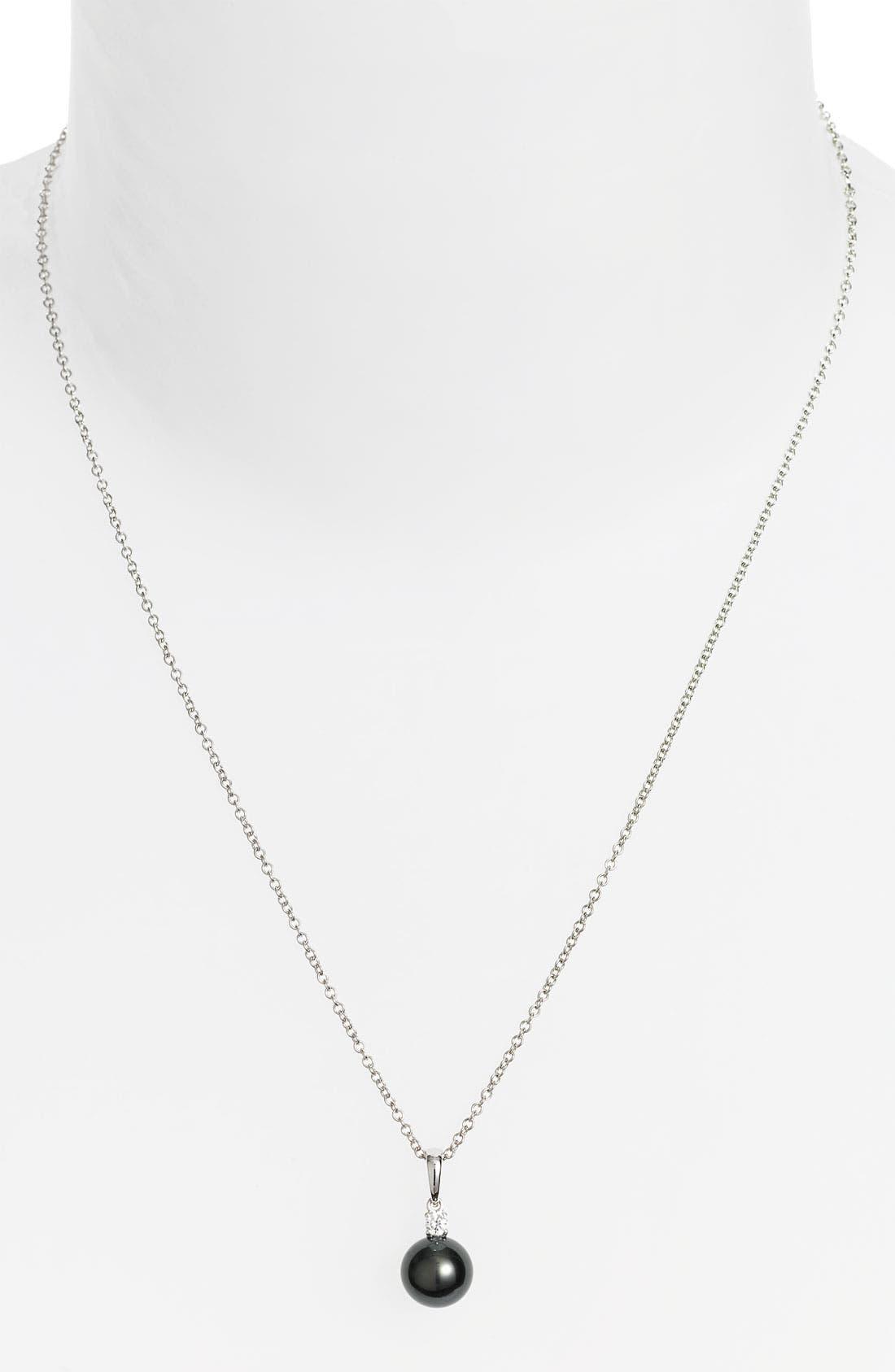 Alternate Image 1 Selected - Mikimoto Diamond & Black South Sea Cultured Pearl Pendant Necklace